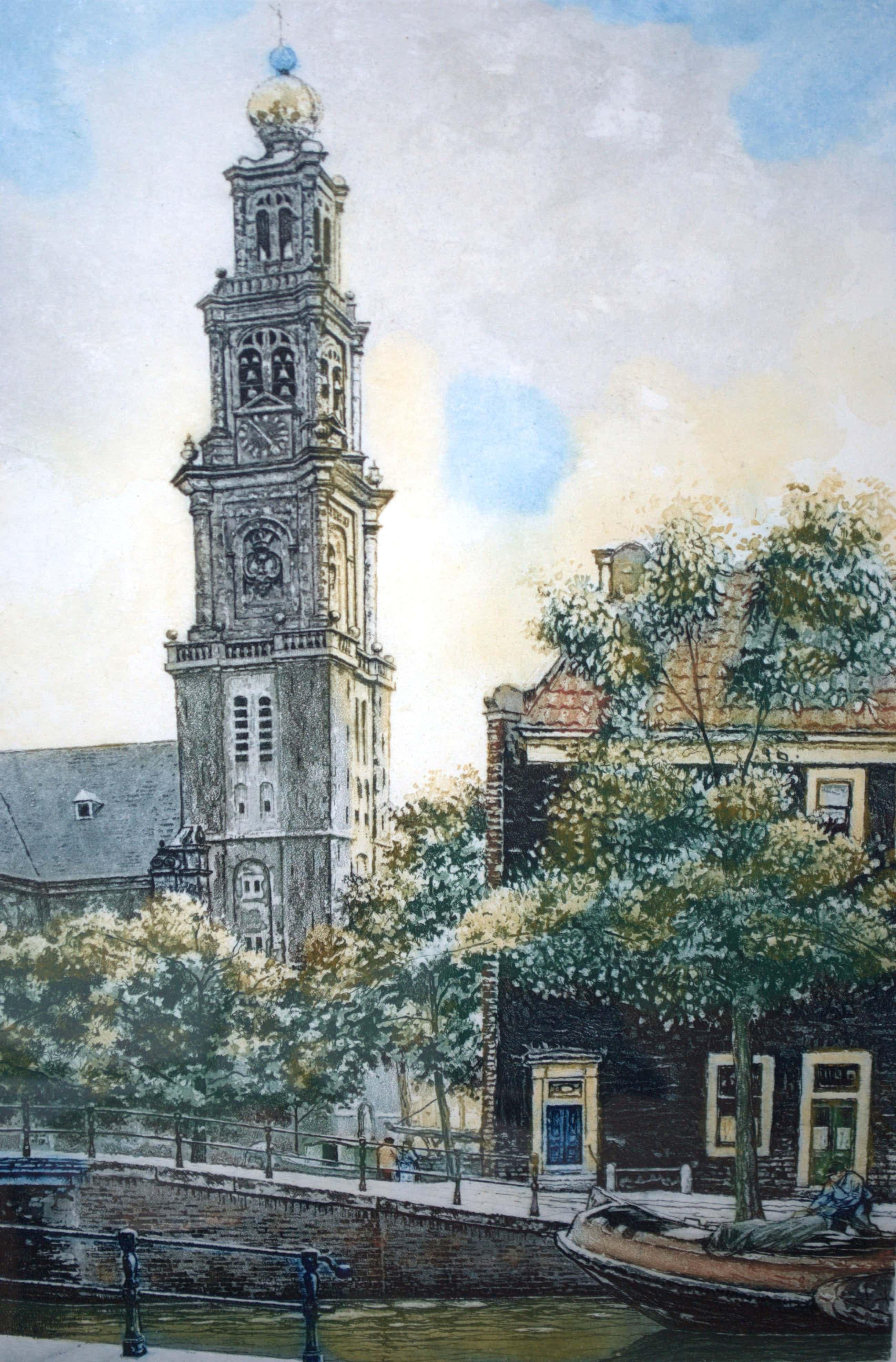 Cornelis Brandenburg - Westertoren Amsterdam - heldere kleurets izgst kopen? Bied vanaf 75!