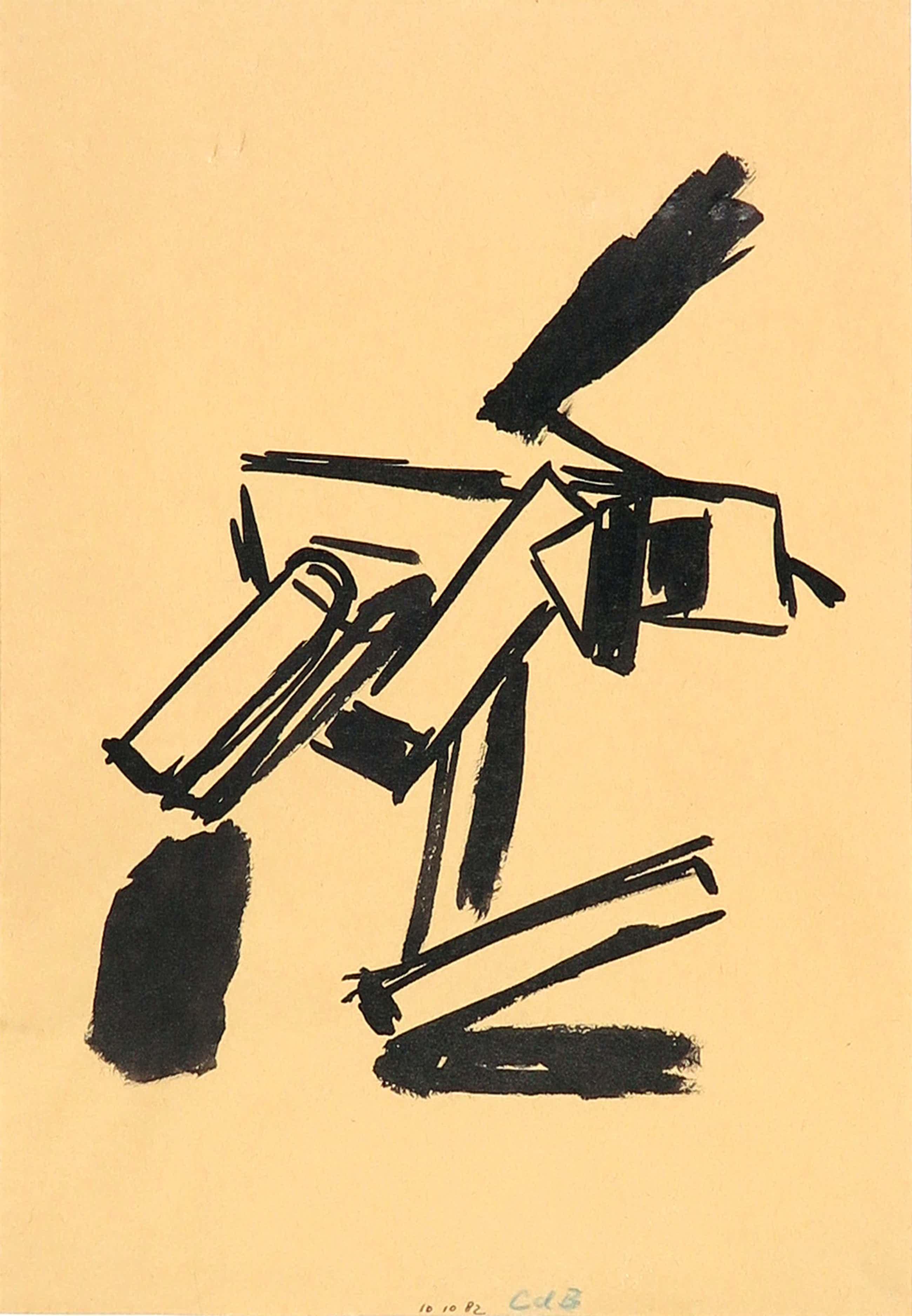 Chris de Bueger - Inkttekening, Abstracte compositie kopen? Bied vanaf 35!