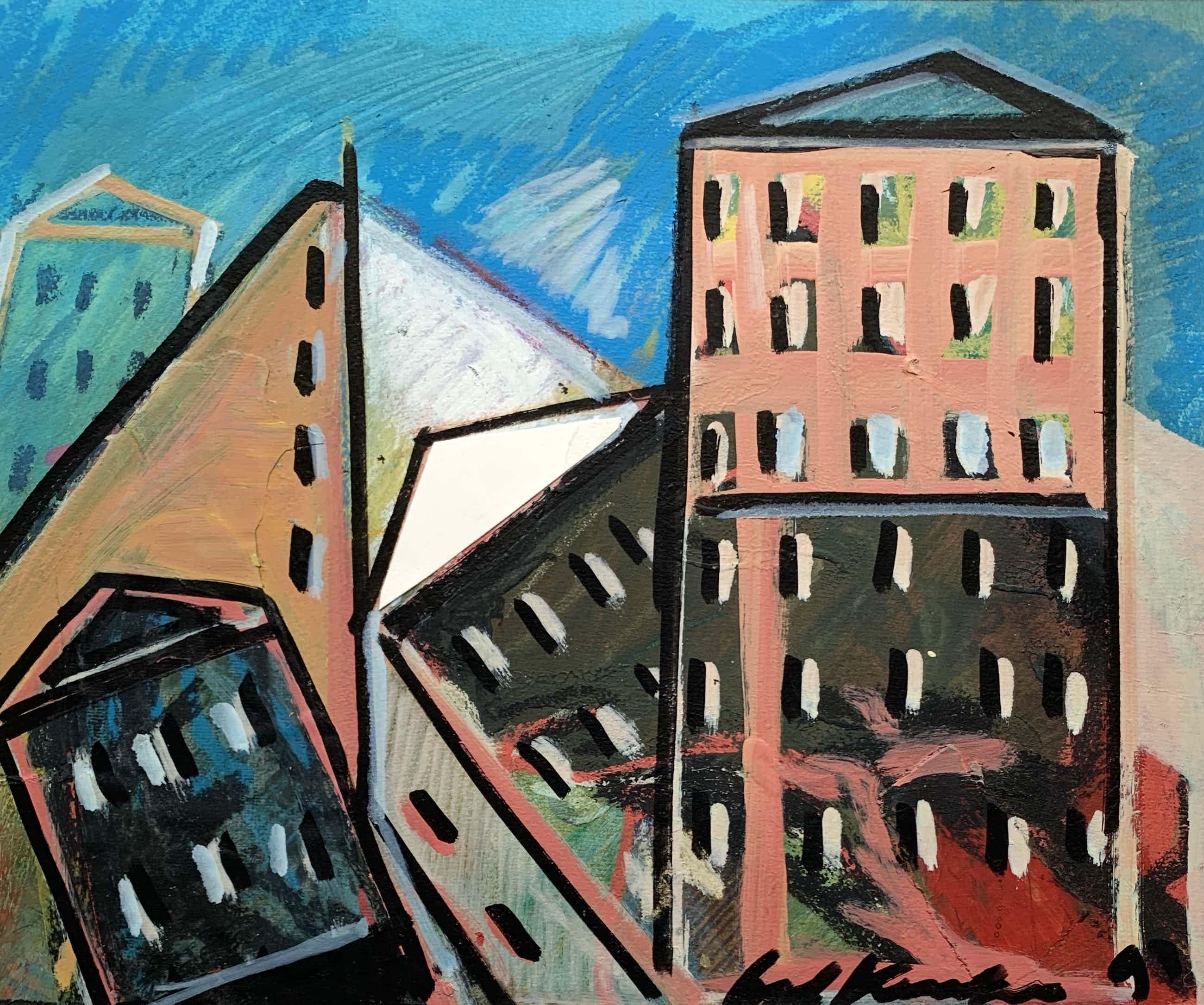 Bob Kemper - Acryl en collage op papier   'De Stad I'   1993 (Uniek werk) kopen? Bied vanaf 75!