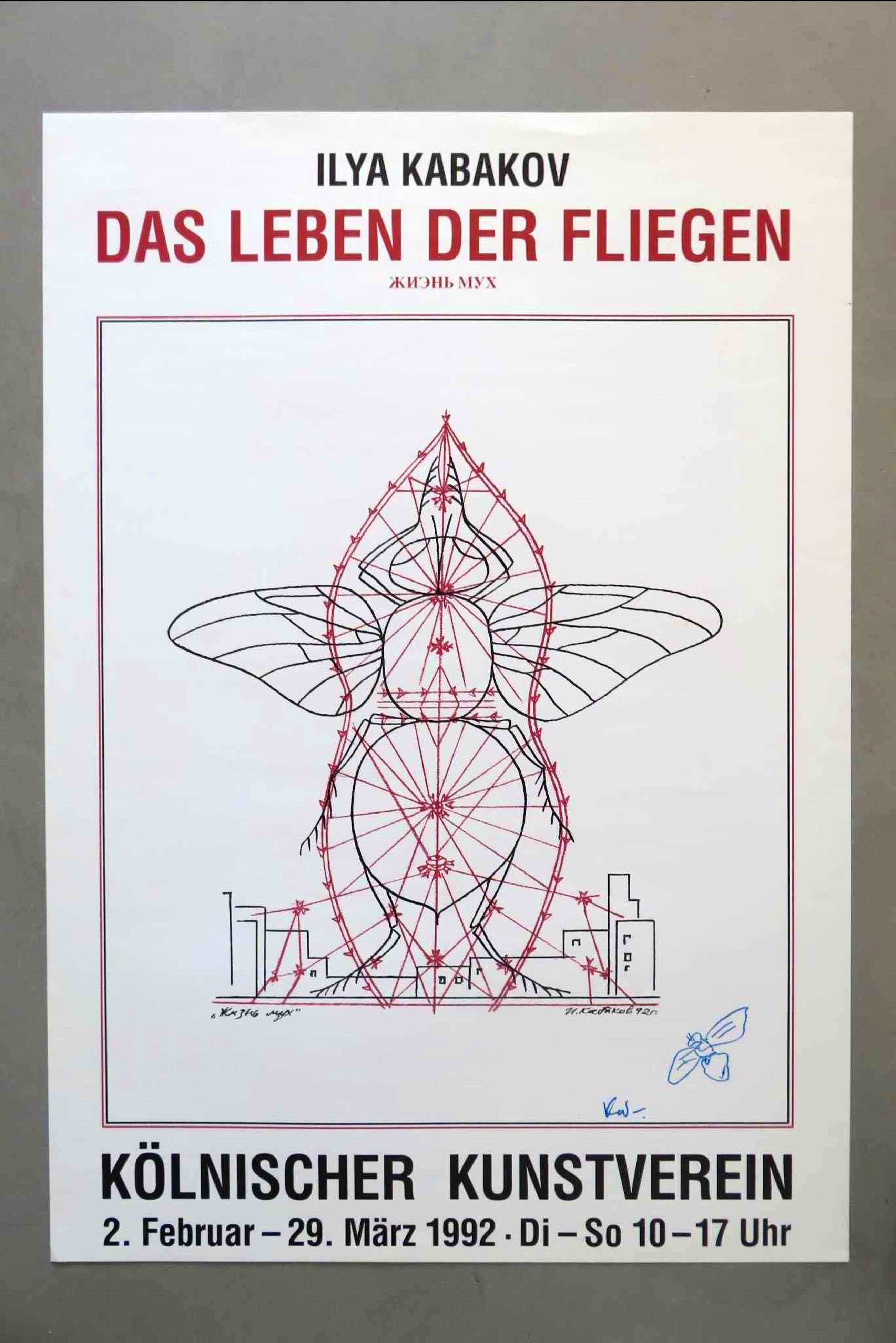 """Ilya Kabakov - """"das Leben der Fliegen """" met kleine tekening met viltstift kopen? Bied vanaf 100!"""