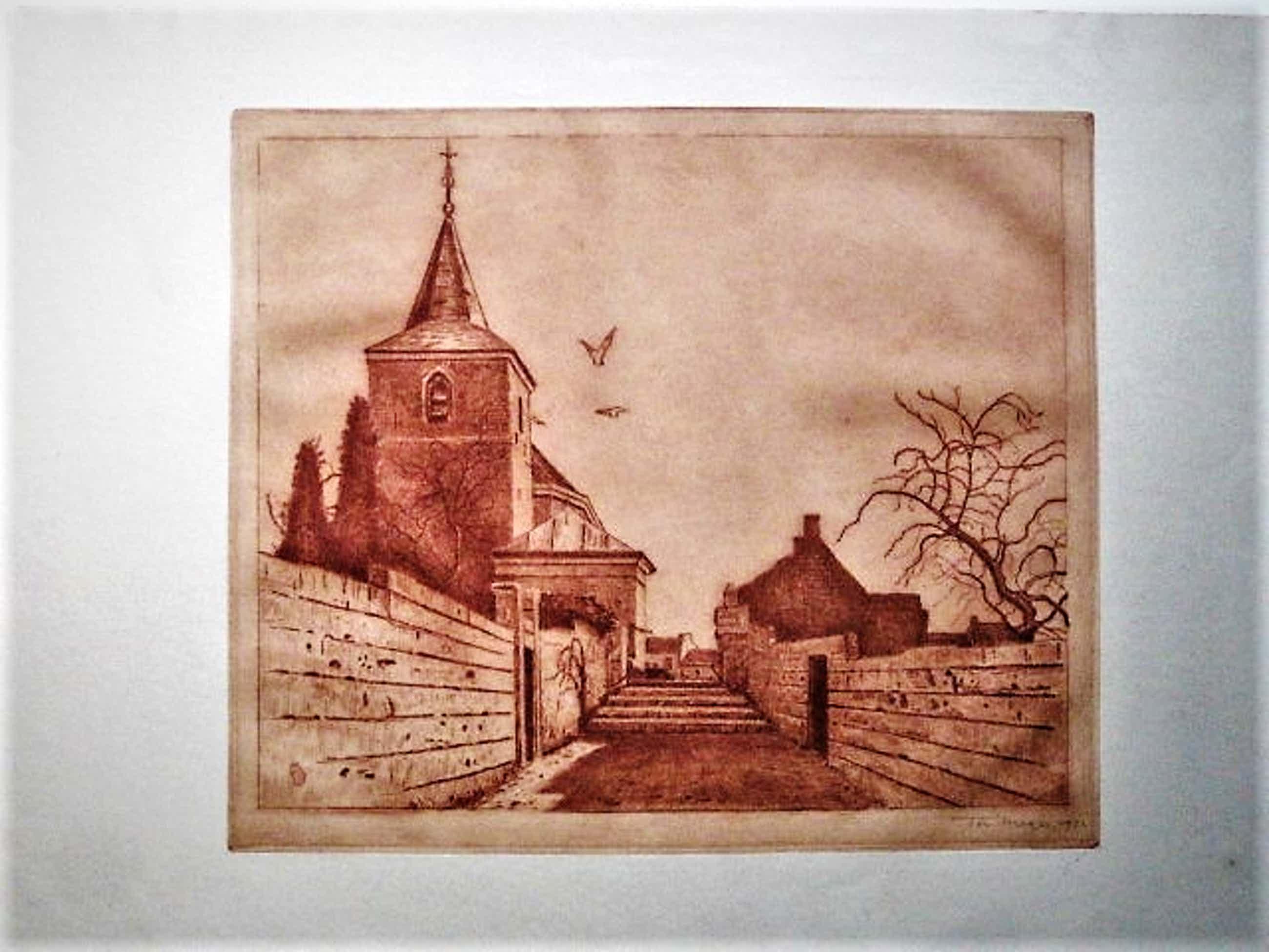Ton Meyer - 1932- Verstilde zachtrode Lithografie - het dorp Kanne Zuid-Limburg - gesigneerd kopen? Bied vanaf 30!