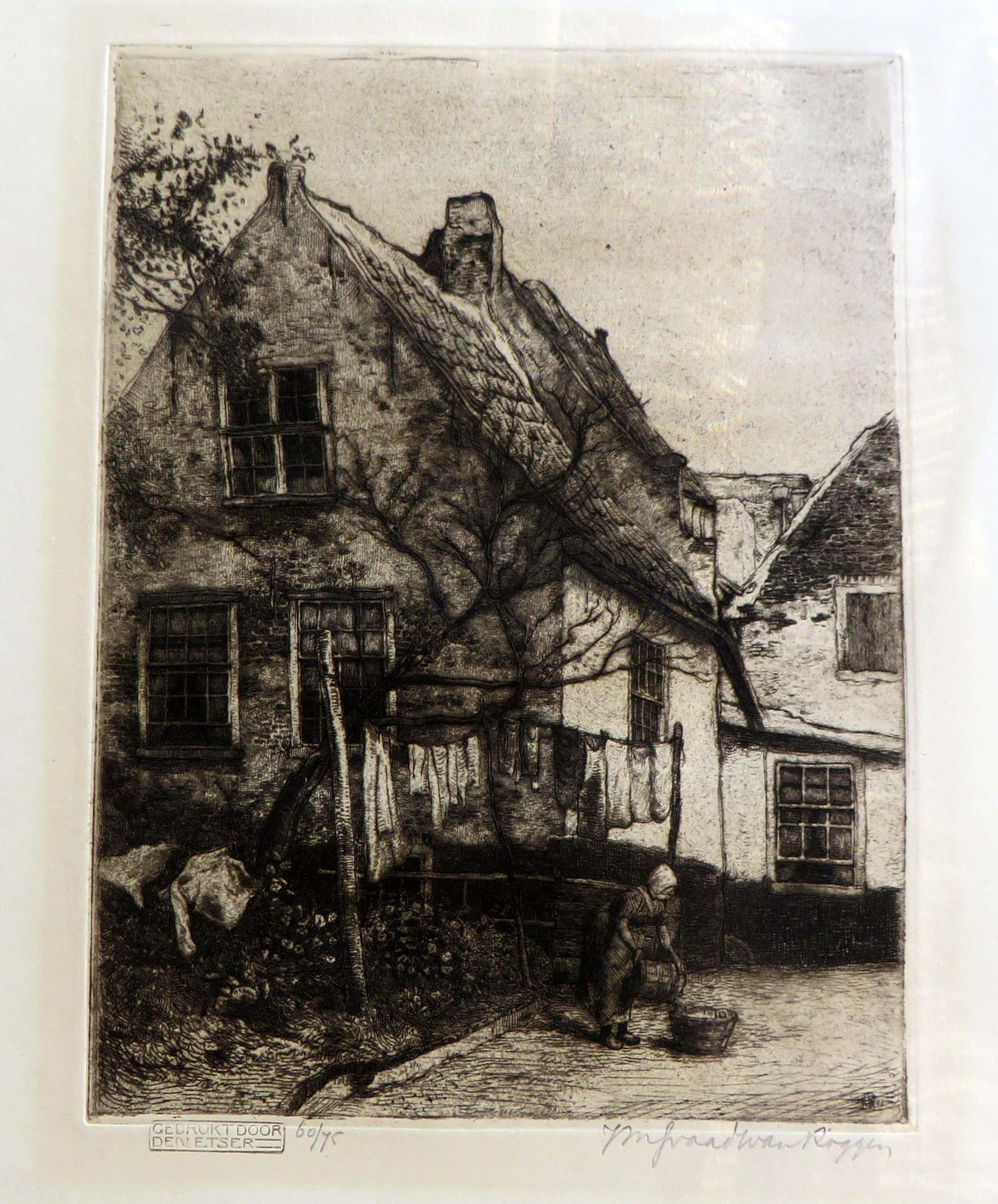Johannes Graadt van Roggen - Gezicht op boerderij met boerin die de was ophangt. kopen? Bied vanaf 40!