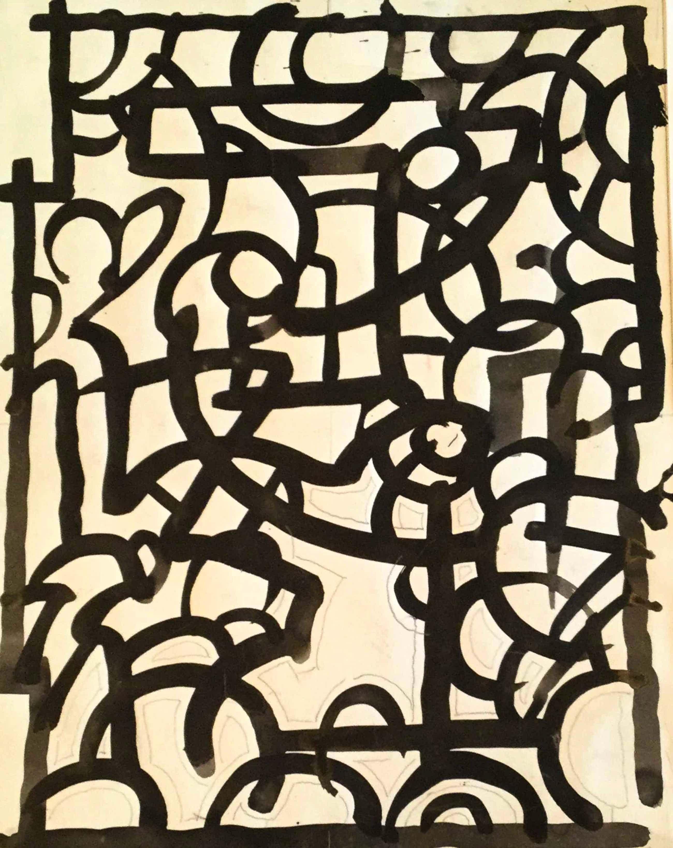 Gerard Huijsser - C4992-23, Abstracte voorstelling kopen? Bied vanaf 75!