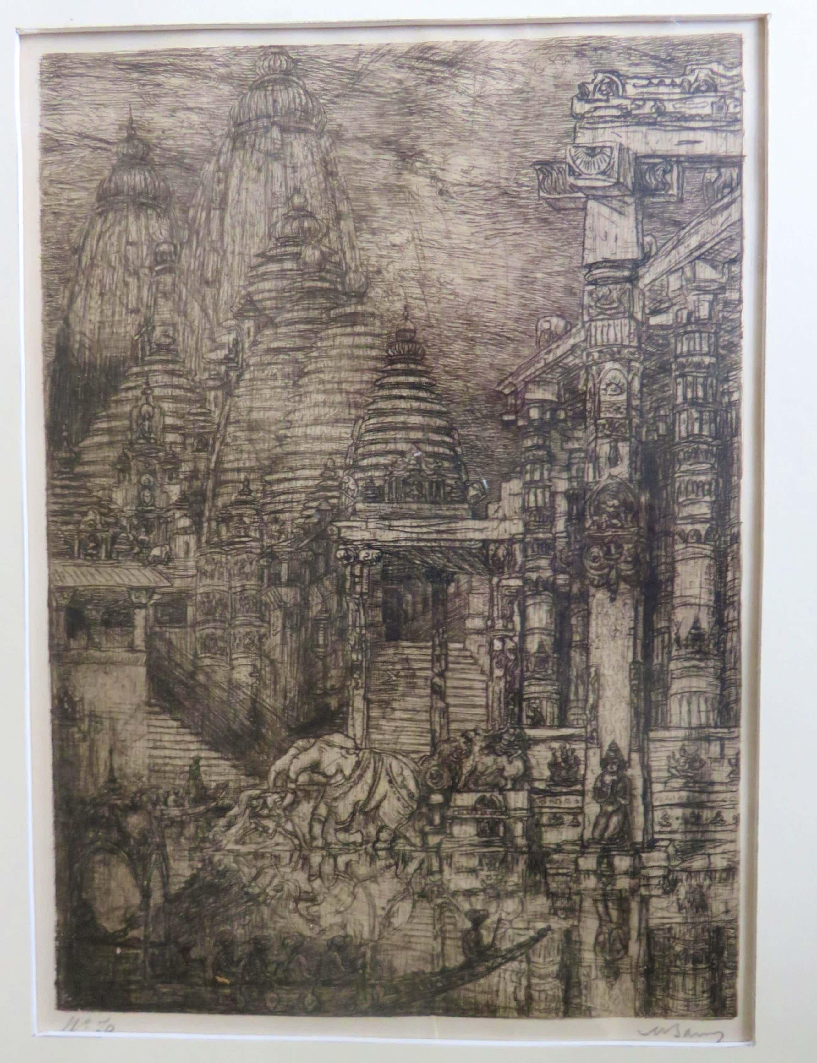 Marius Bauer - Gezicht op de Ganges met figuren,olifanten op de voorgrond en tempels . kopen? Bied vanaf 45!
