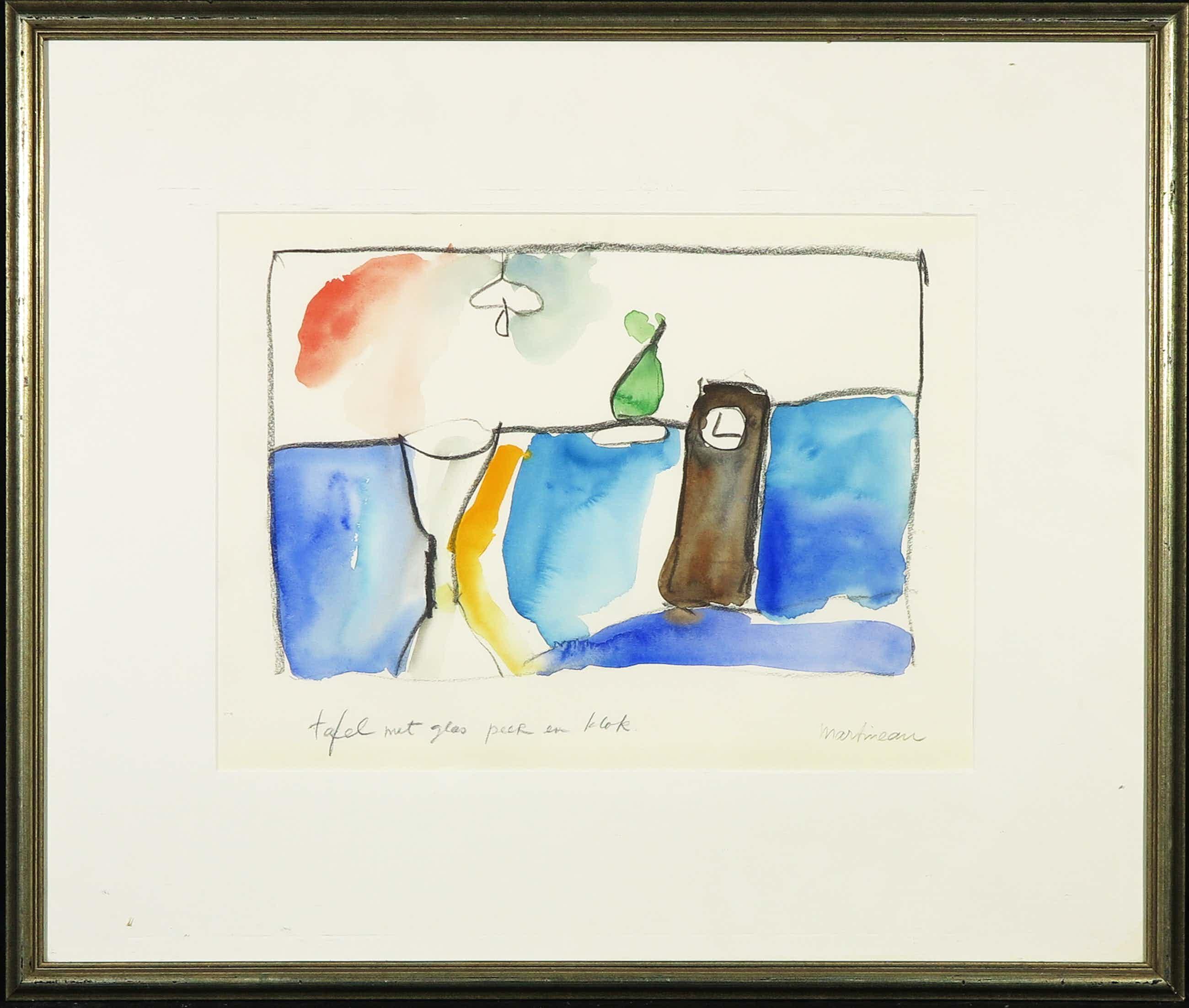 Anton Martineau - Aquarel en houtskool op papier, Tafel met glas peer en klok - Ingelijst kopen? Bied vanaf 75!