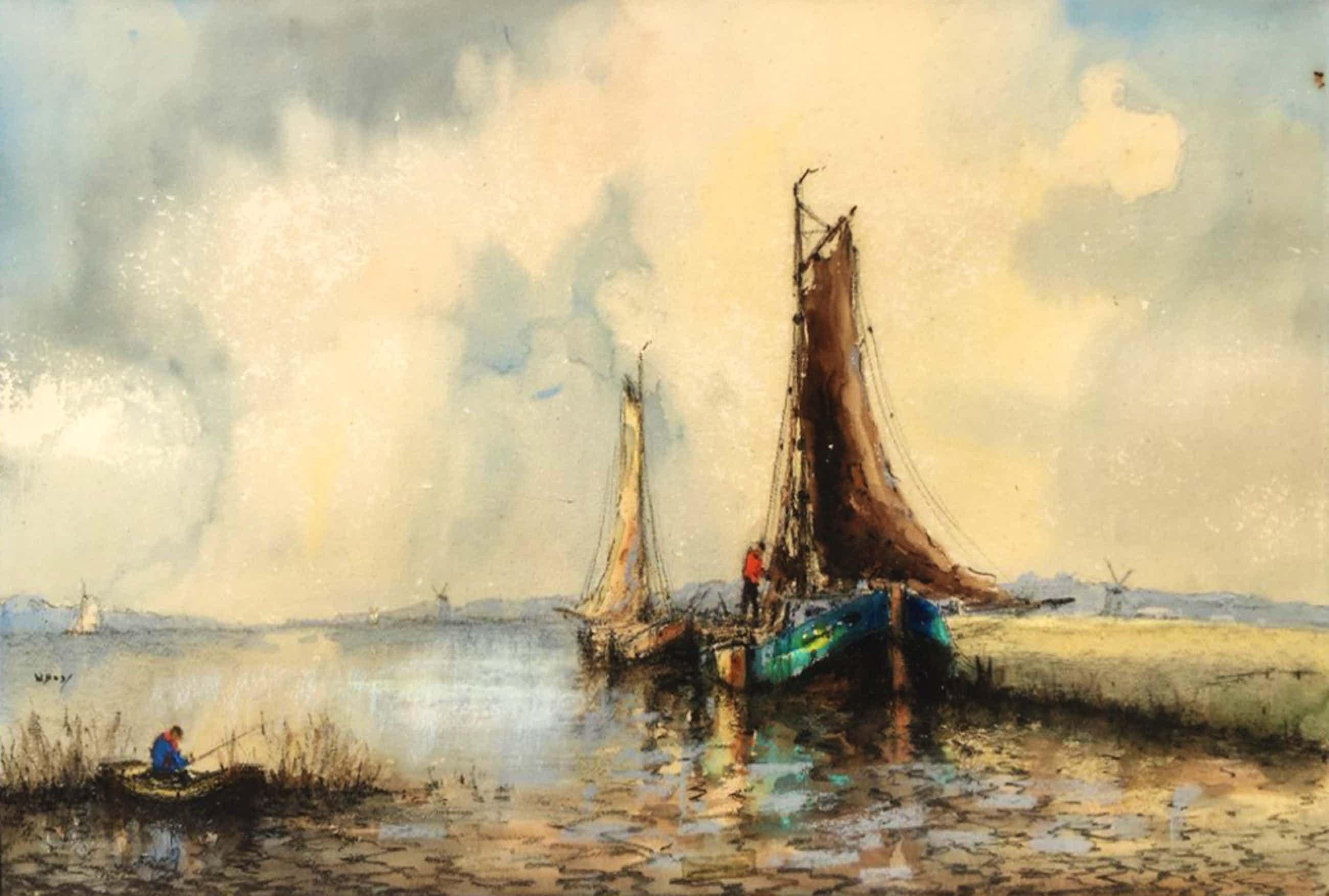 Willem Bos - Poldergezicht met boten - aquarel, houtskool en krijt kopen? Bied vanaf 50!