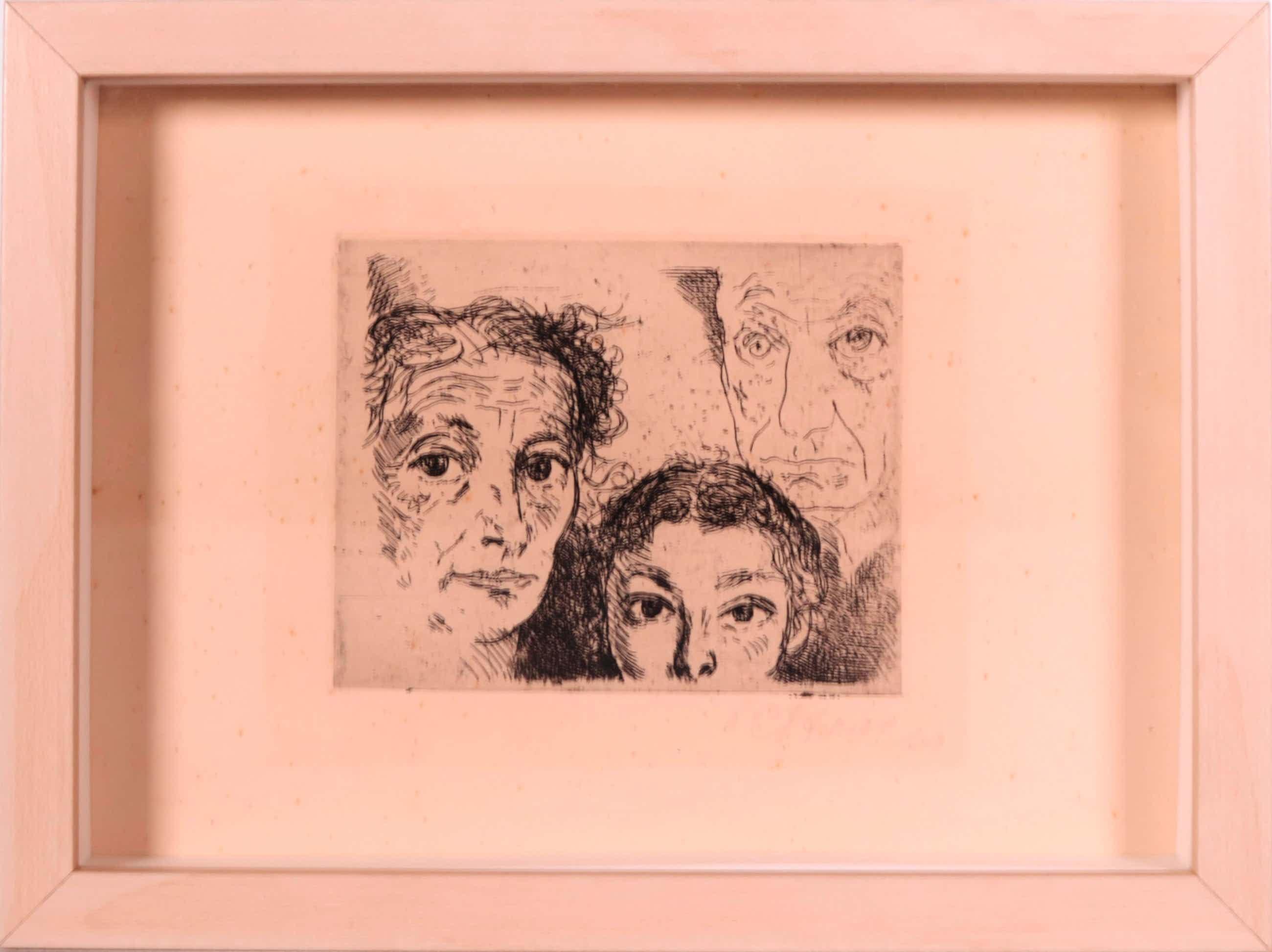 Paul Citroen - Ets, 3 portretten in 1 waaronder een zelfportret, Gesigneerd kopen? Bied vanaf 75!