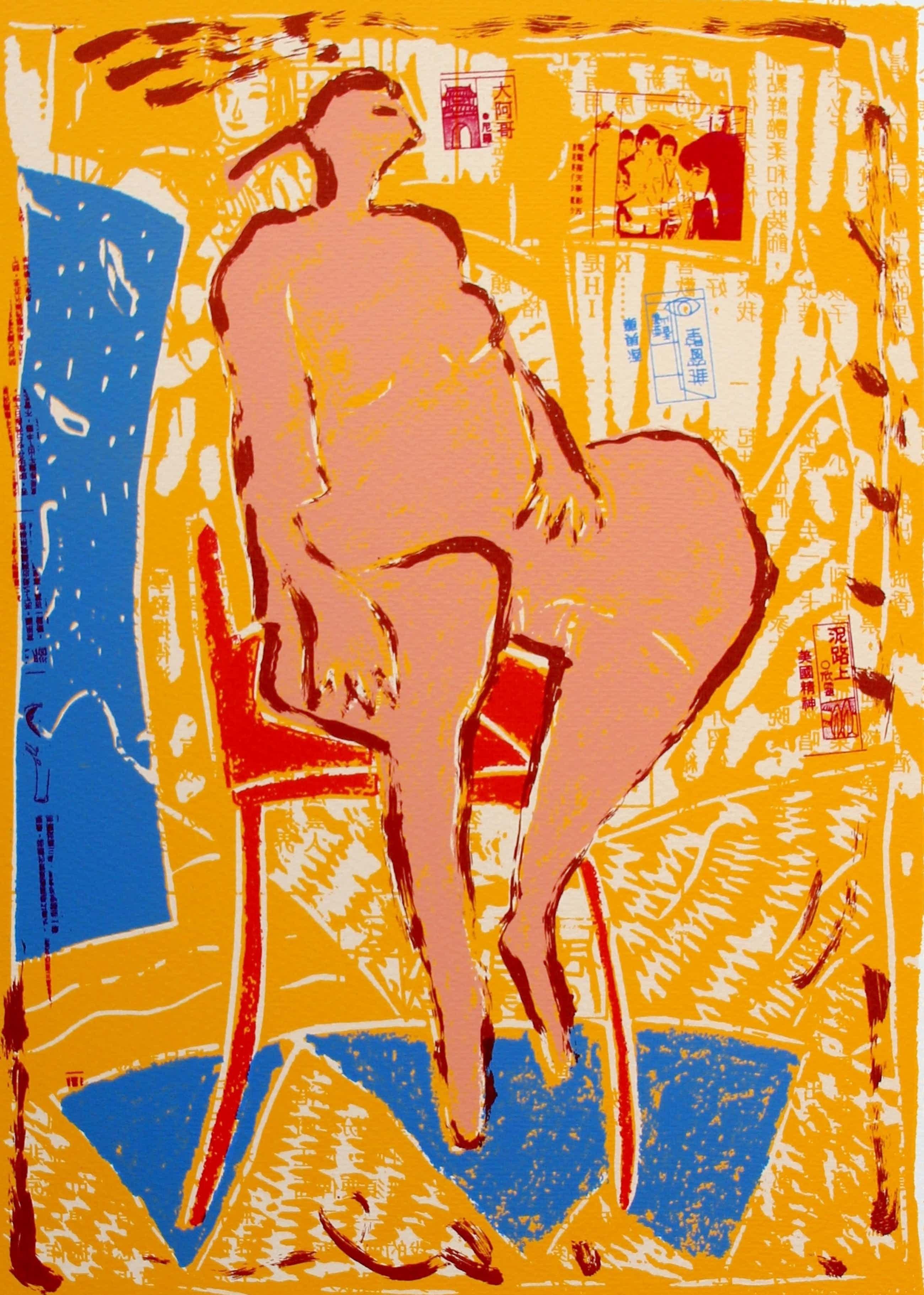 Dominique Chan - Kleurenzeefdruk: naakt op stoel kopen? Bied vanaf 39!