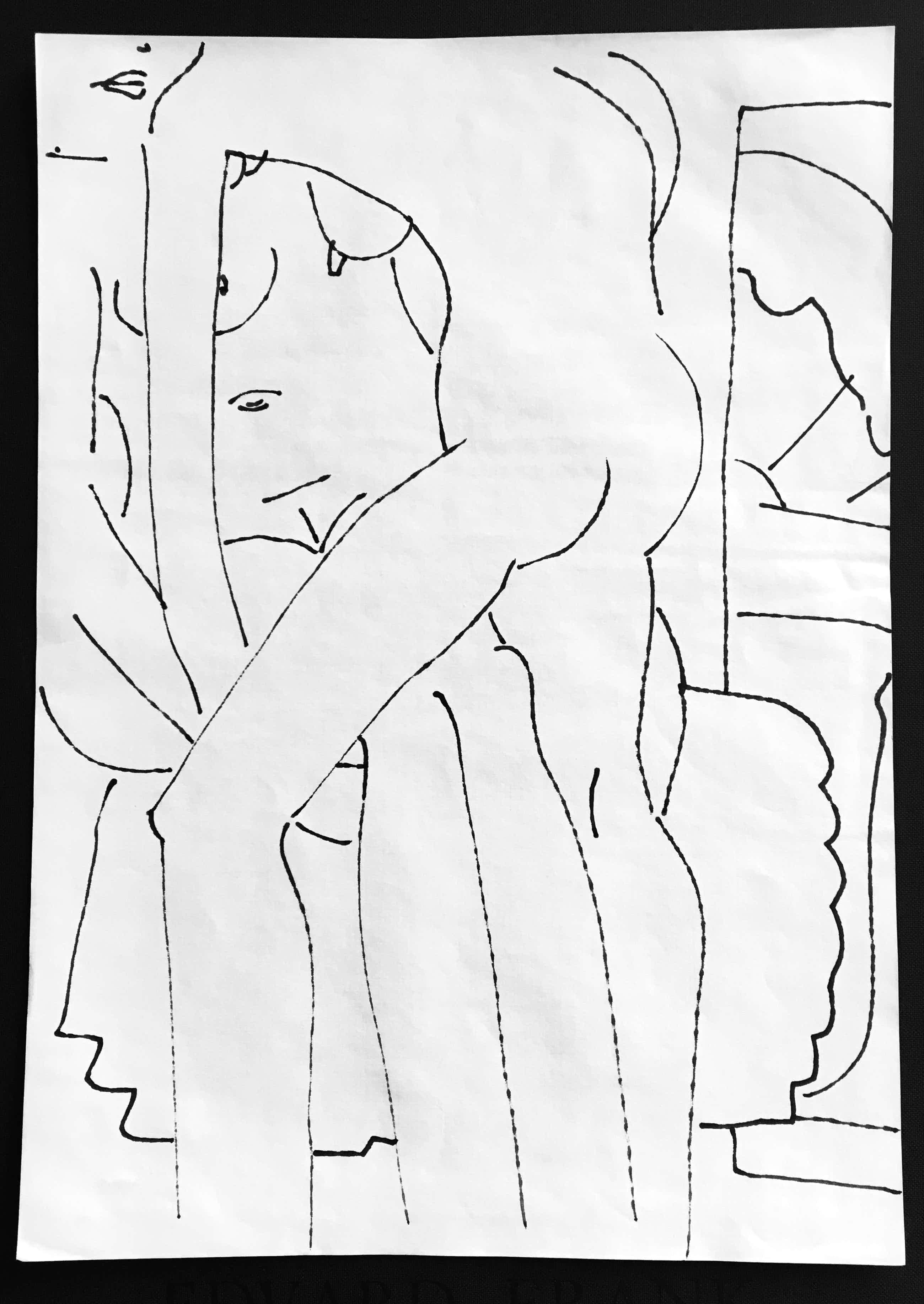 Edvard Frank - Original Erotische Tuschfederzeichnung kopen? Bied vanaf 179!