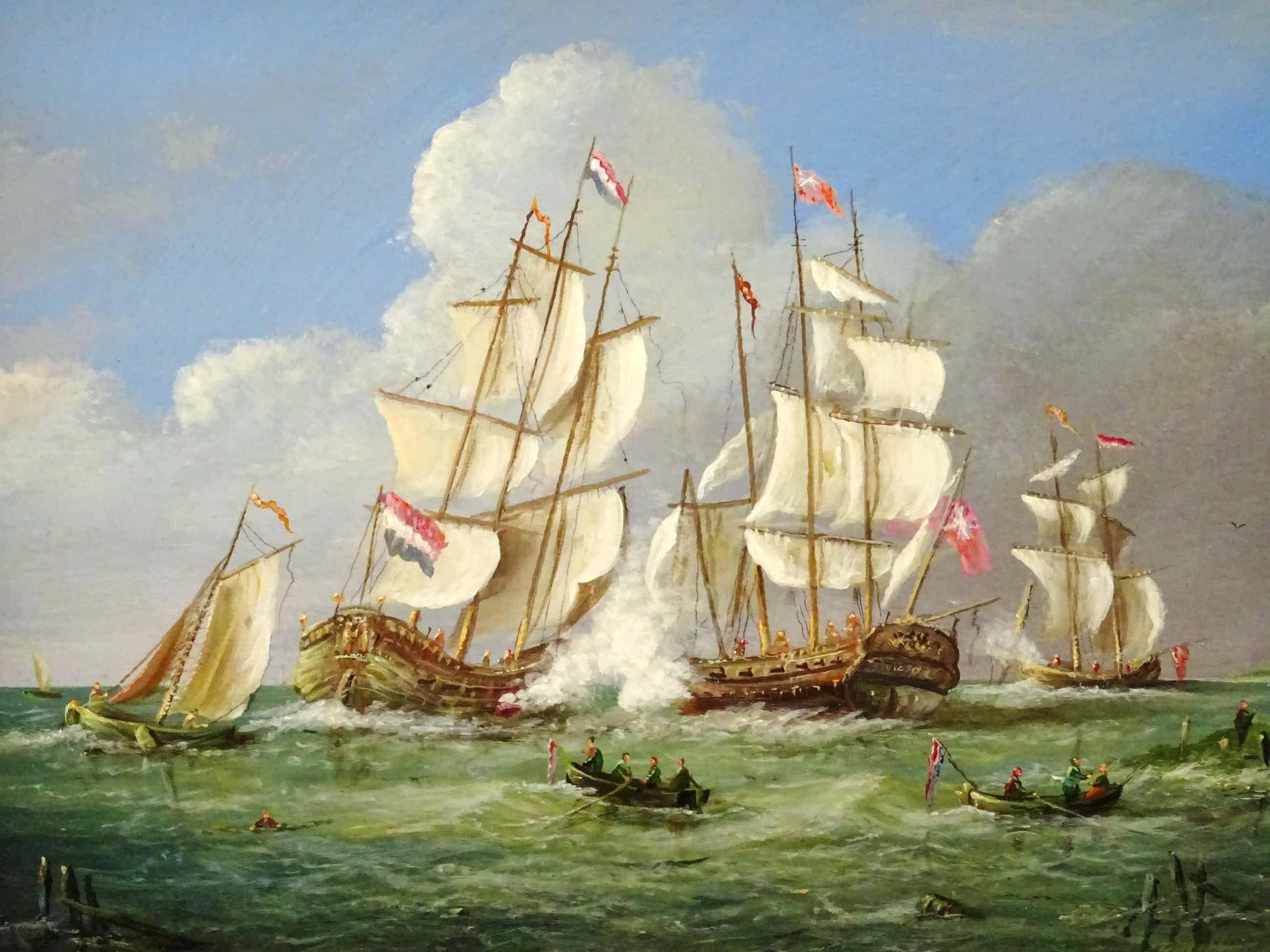 Thomas Heesakkers - Mooi maritiem schilderij schepen in oorlog op paneel. kopen? Bied vanaf 250!