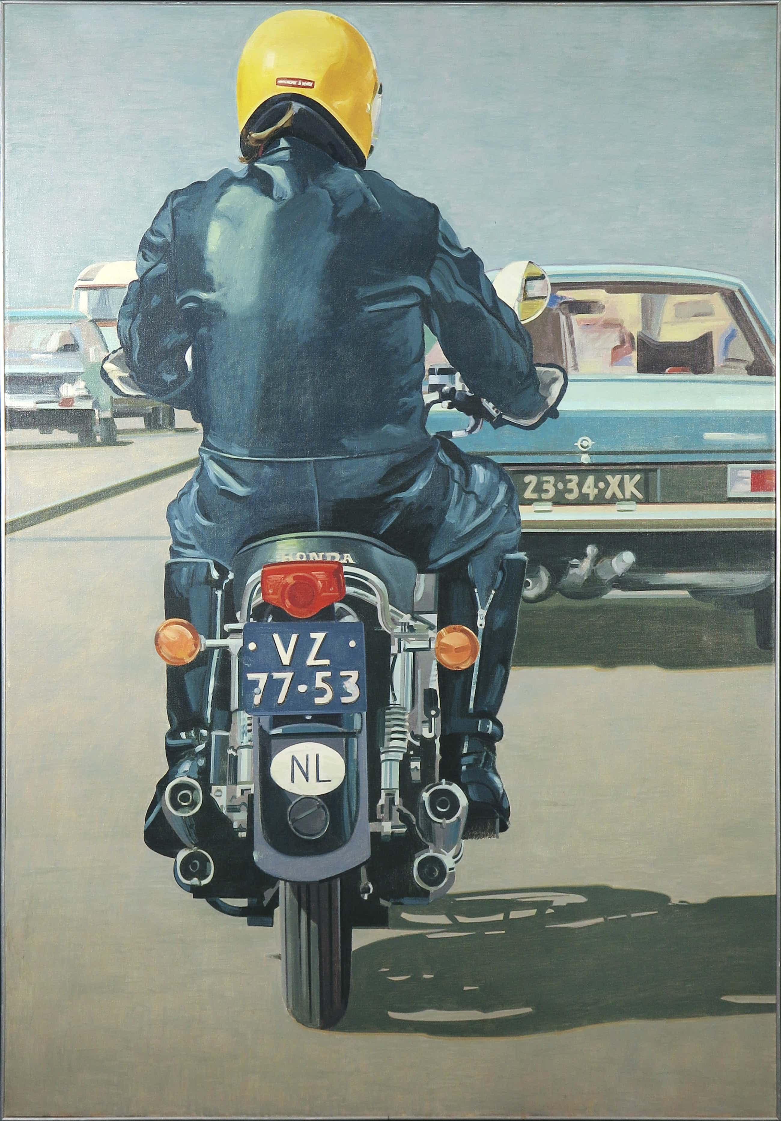 Jurjen de Haan - Olieverf op doek, Motorrijder / Groot fotorealistisch werk uit 1975 - Ingelijst kopen? Bied vanaf 730!