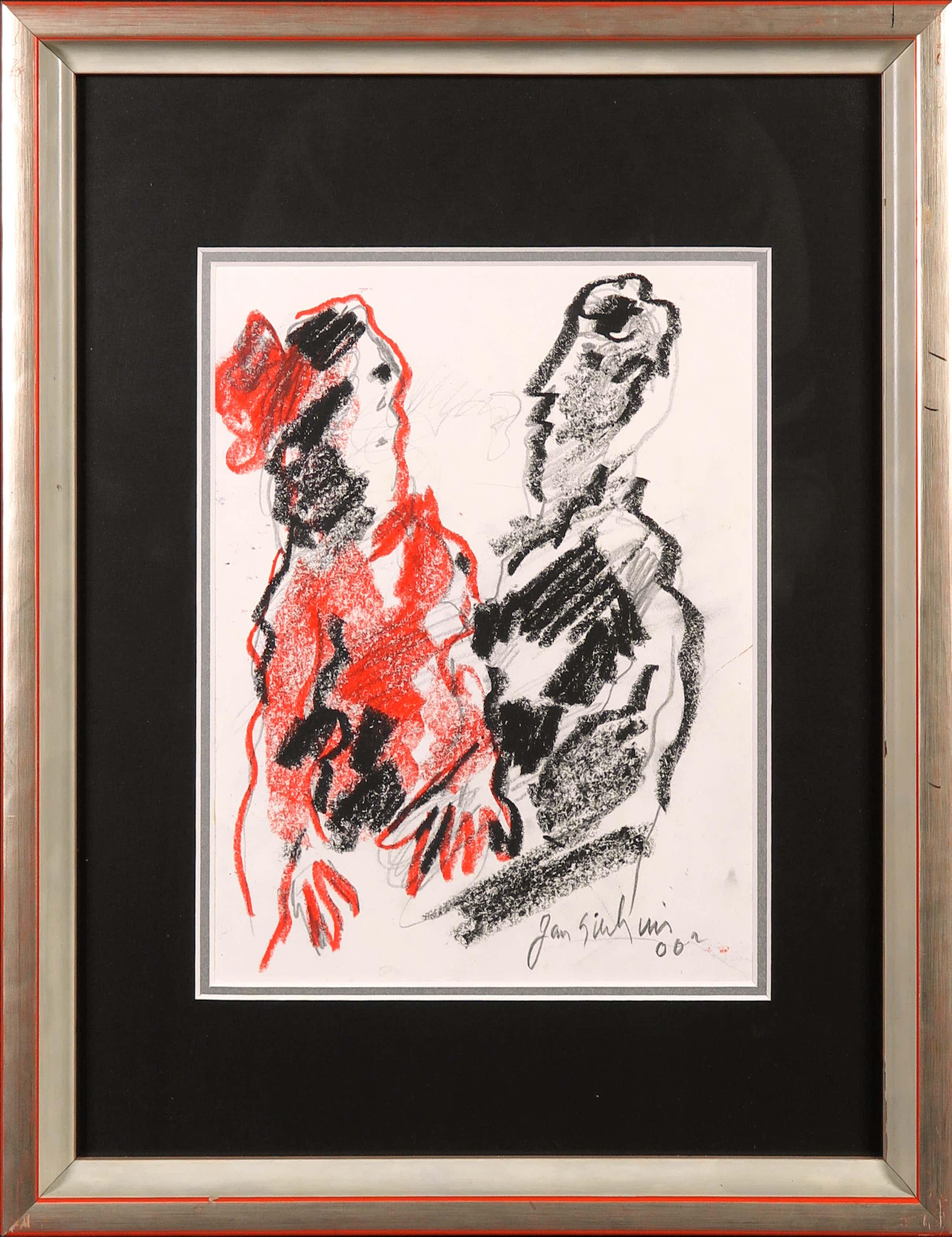 Jan Sierhuis - Pastelkrijt en potlood, Compositie met twee figuren kopen? Bied vanaf 280!