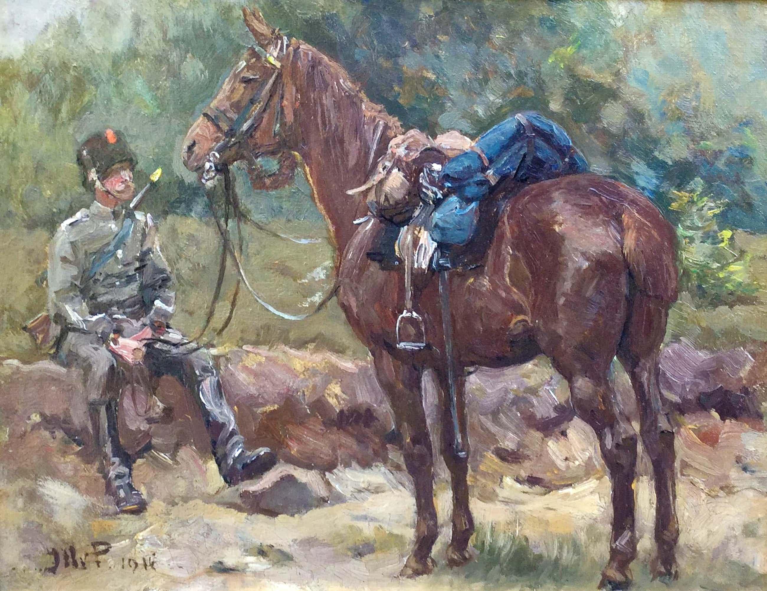 Jan Hoynck van Papendrecht - C4816-1, Militair met zijn paard kopen? Bied vanaf 750!