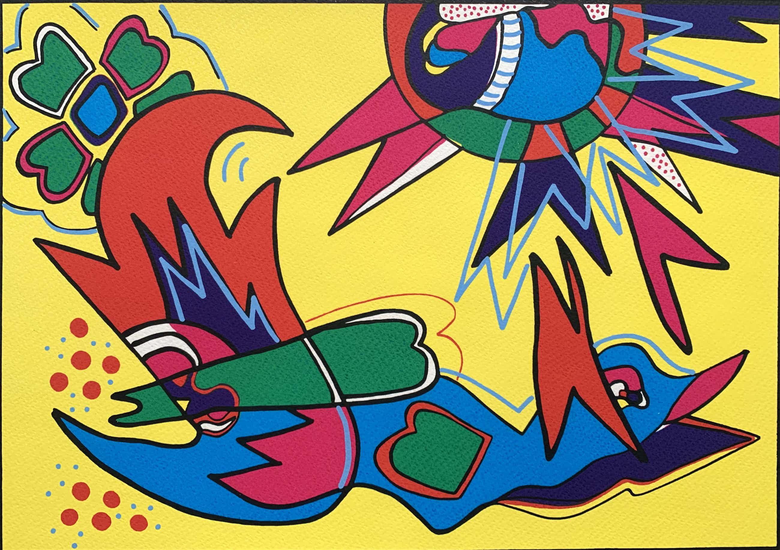 Marianne Naerebout - kleurenzeefdruk   'Early bird'   1995 kopen? Bied vanaf 80!