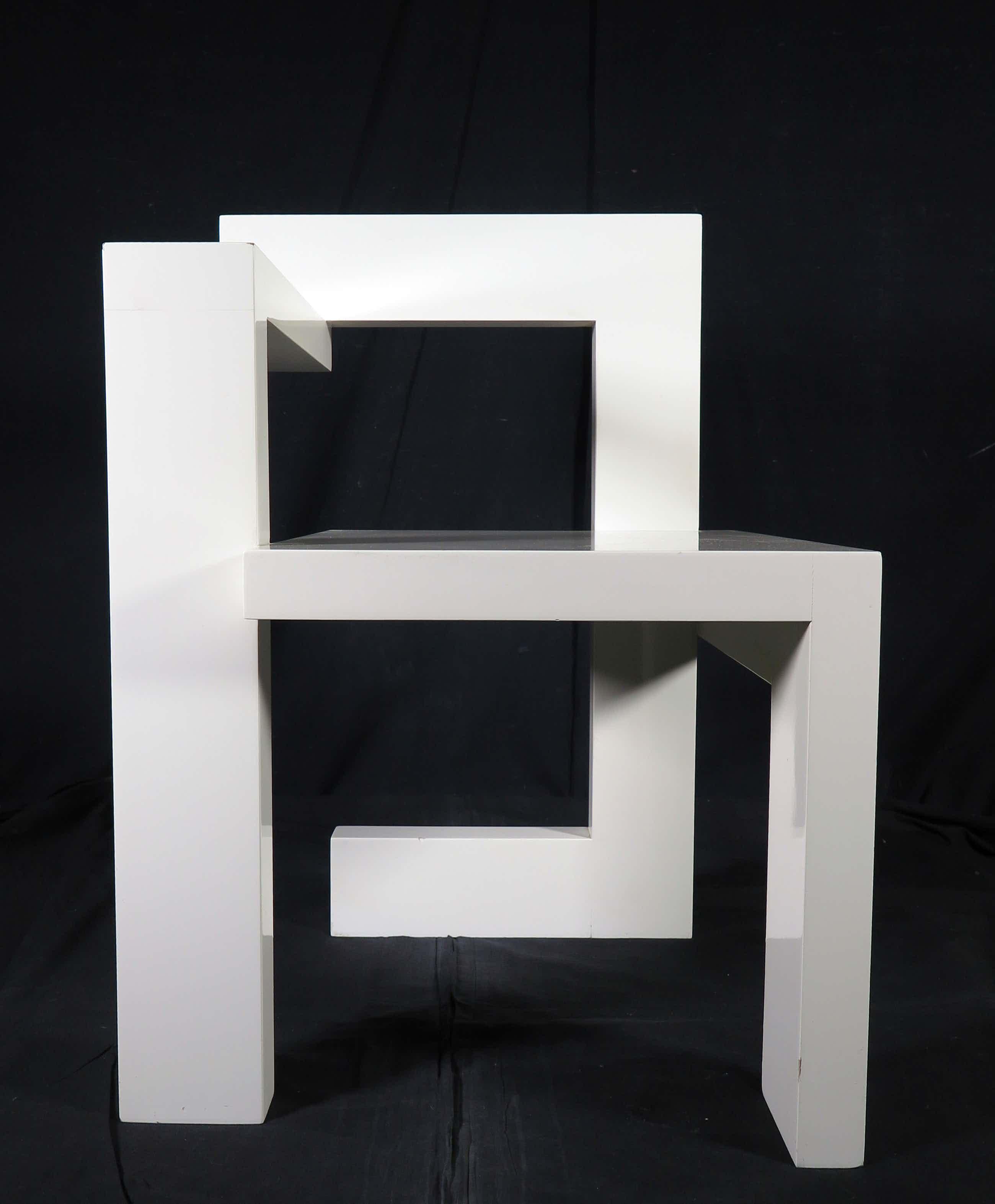 Gerrit Rietveld - (naar) - Wit gelakte houten Steltman stoel (links) kopen? Bied vanaf 500!