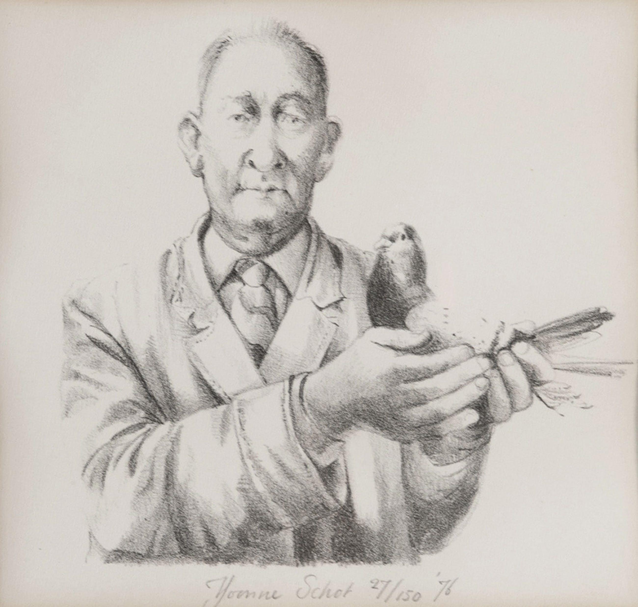 Yvonne Schot - 'man met duif' kopen? Bied vanaf 10!