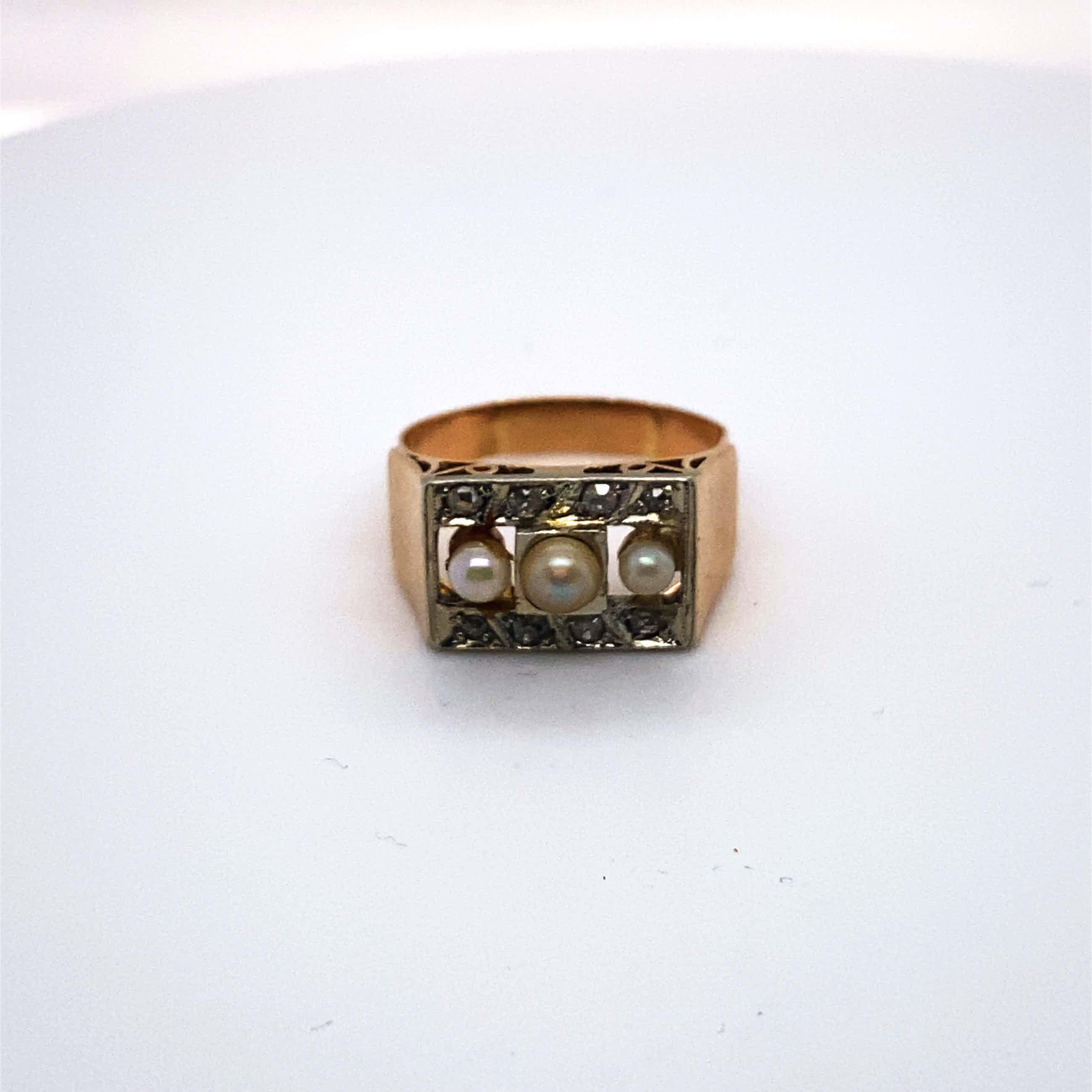 18kt gouden diamanten ring+cultive parels, maat 55,17,50, 4,60 gr kopen? Bied vanaf 144!