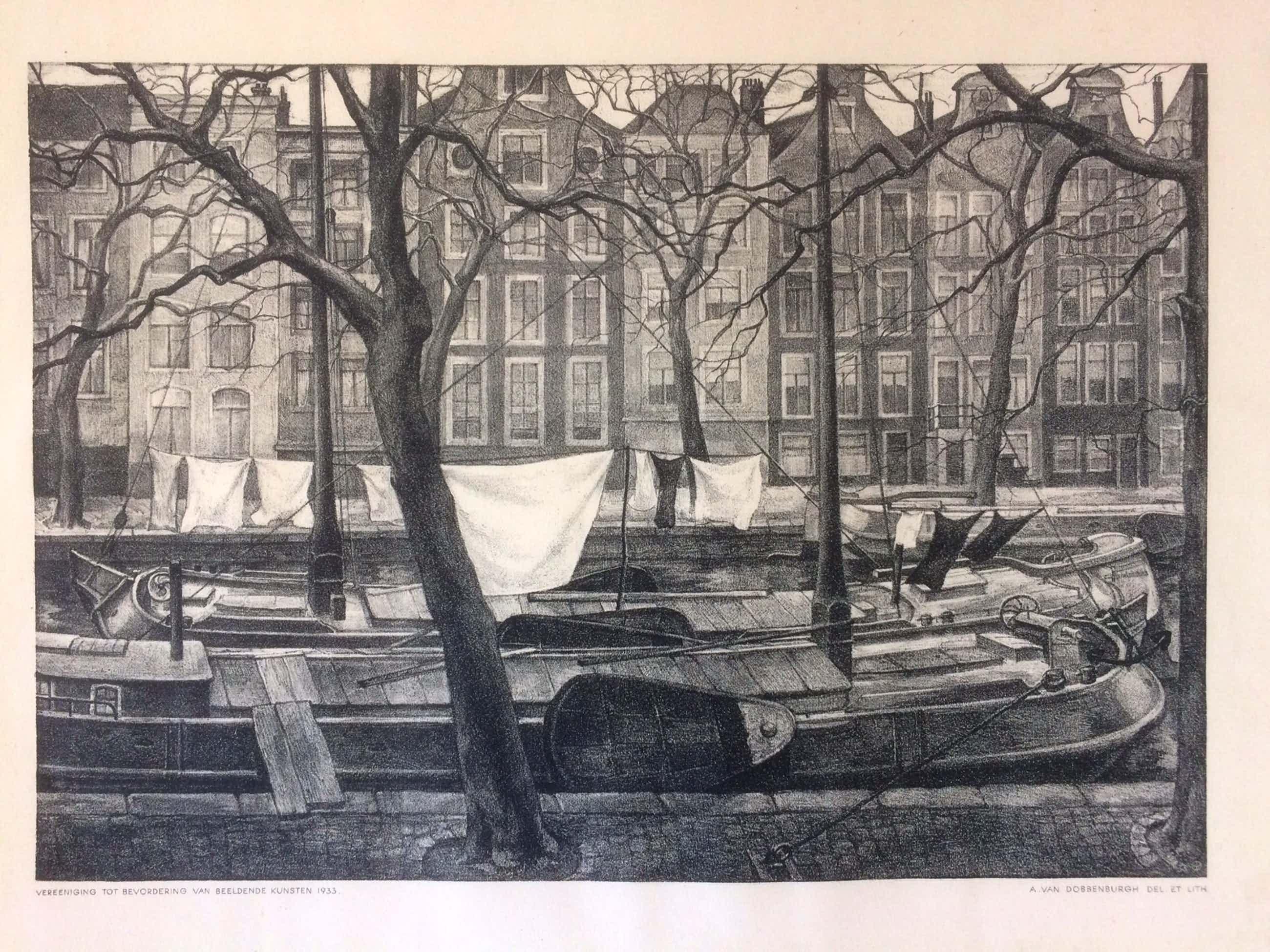 Aart van Dobbenburgh - Schuiten met was in de wind in Amsterdamse gracht kopen? Bied vanaf 40!