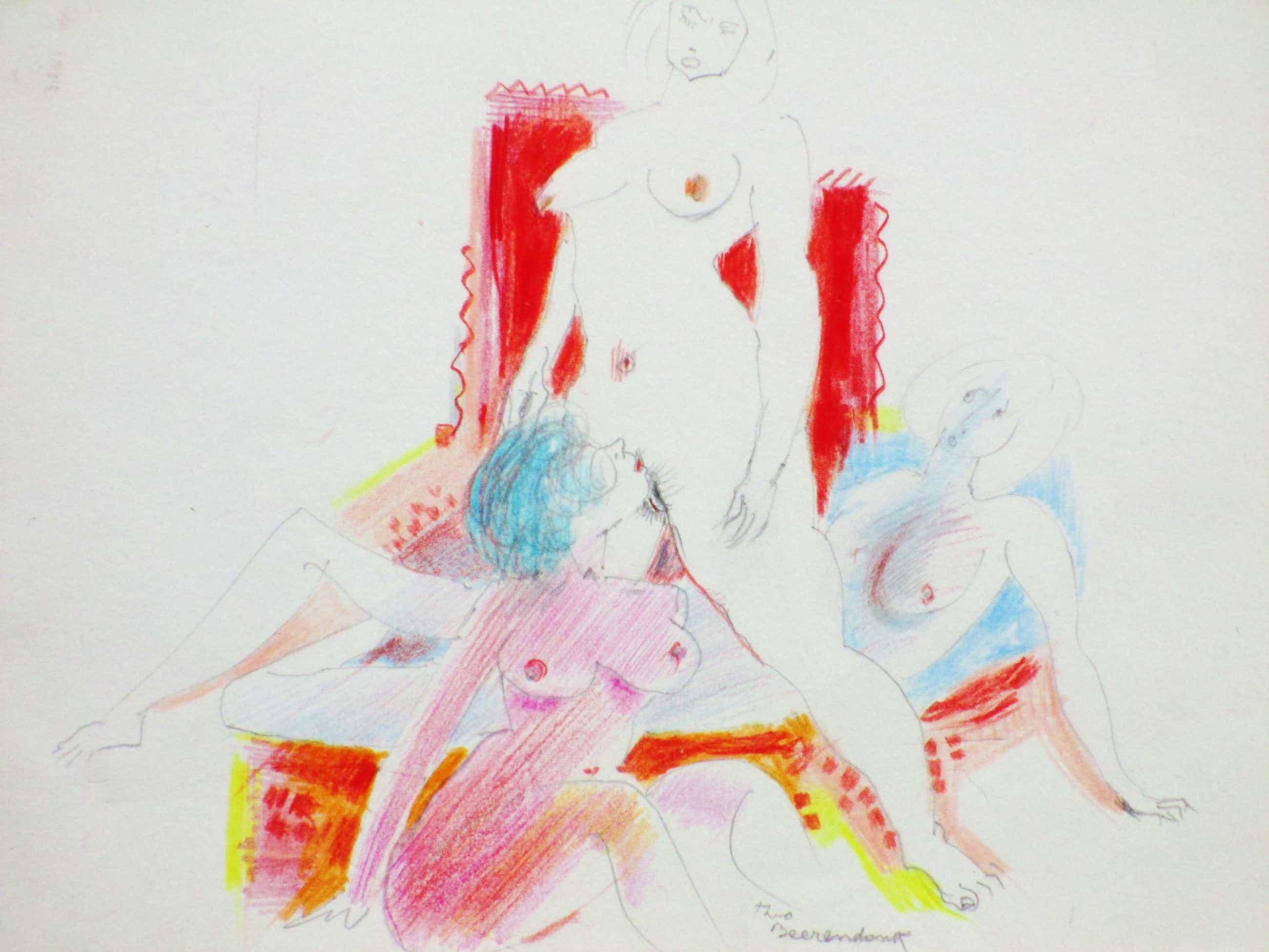 Theo Beerendonk - Damestrio - Kleurtekening kopen? Bied vanaf 45!