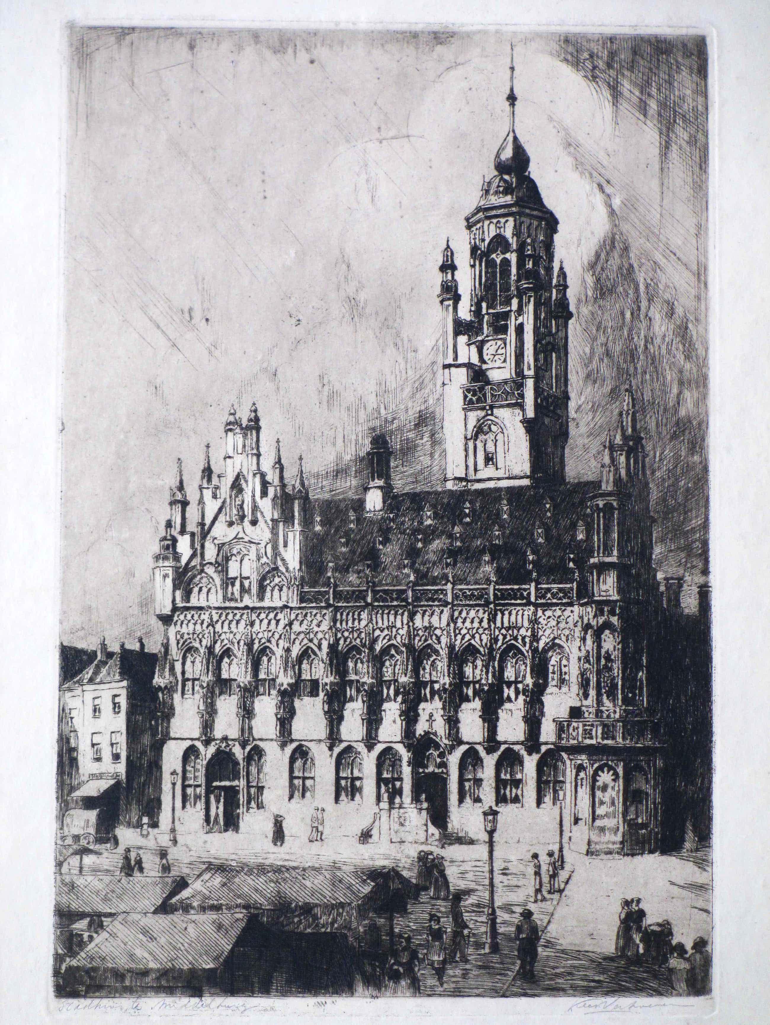 Kees Verhoeven - Stadhuis te Middelburg - Ets kopen? Bied vanaf 35!