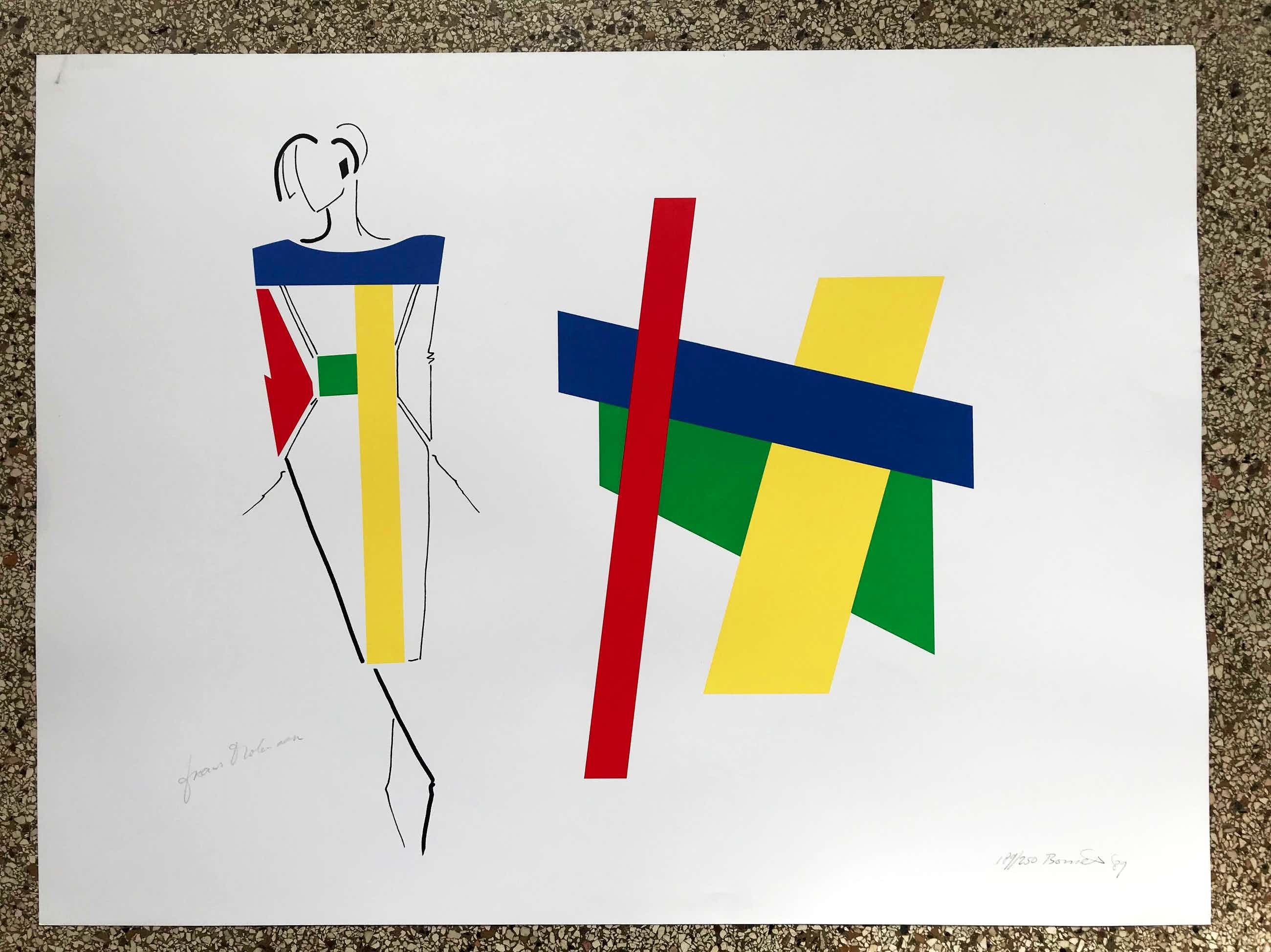 Bob Bonies - & Frans Molenaar: Abstracte compositie - Modeontwerp 2x handgesigneerd 1989 kopen? Bied vanaf 100!