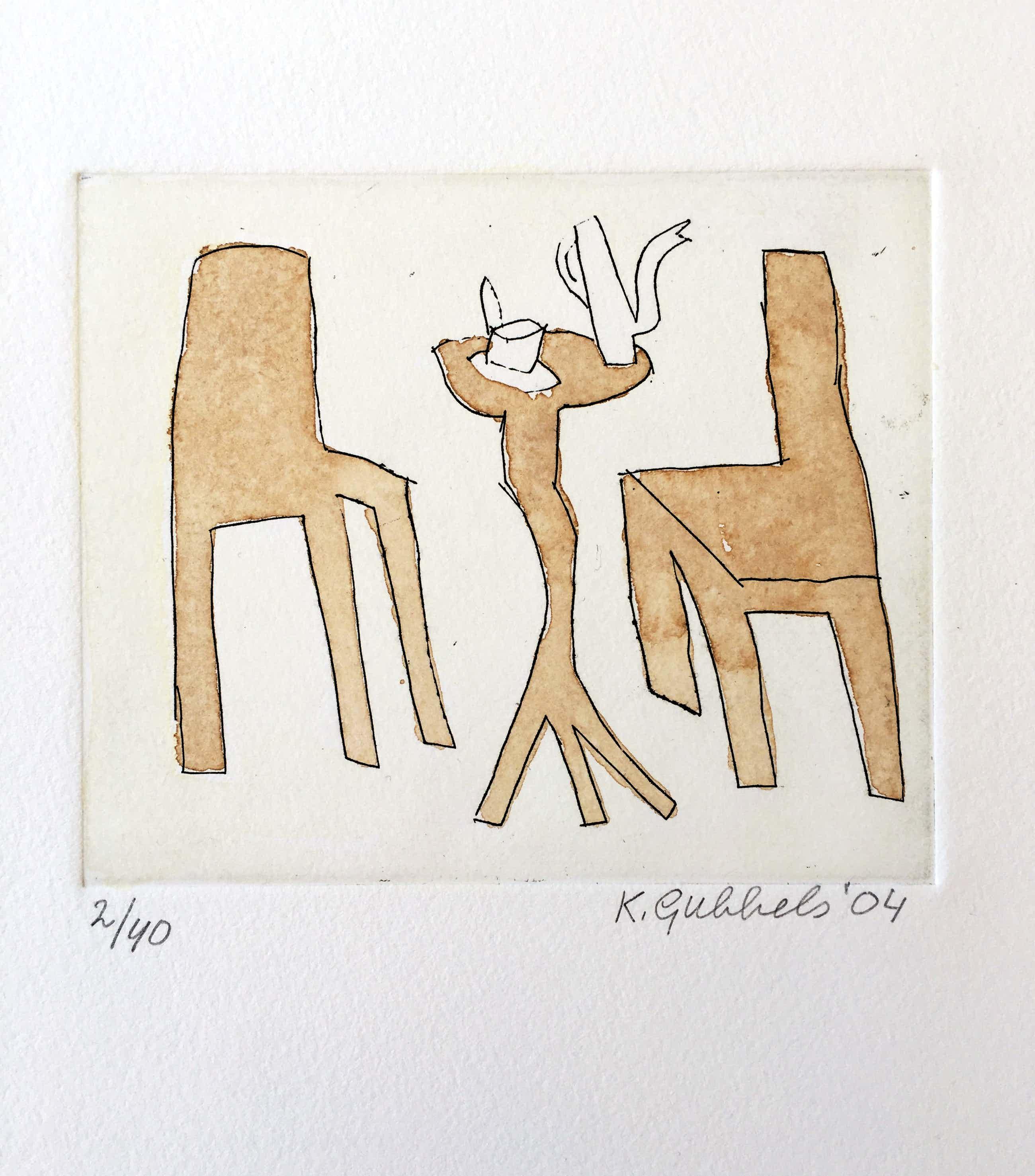 Klaas Gubbels - ets met aquarel ingekleurd - 'Interieur met servies' - 2004 kopen? Bied vanaf 245!