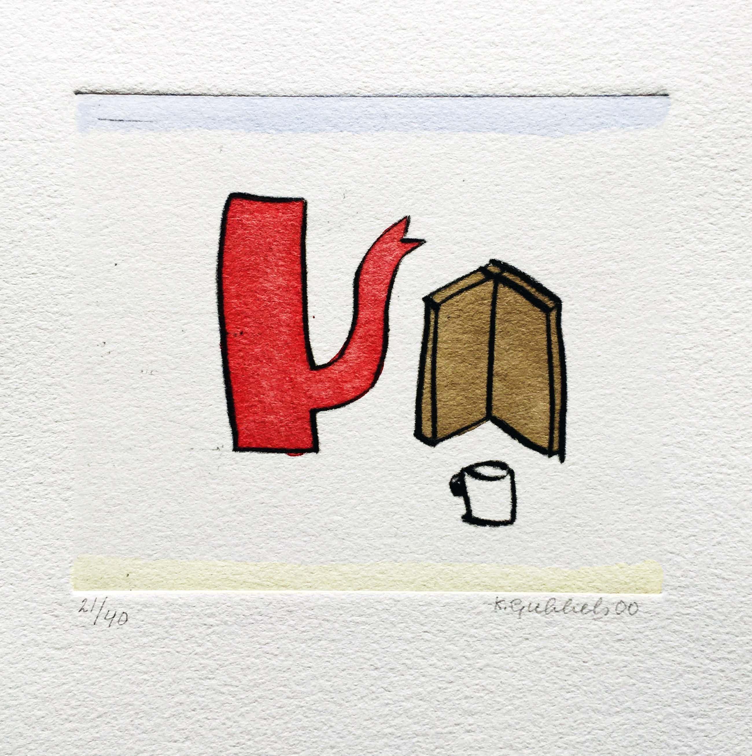 Klaas Gubbels - ets met aquarel ingekleurd - 'Rode kan met boek' kopen? Bied vanaf 245!