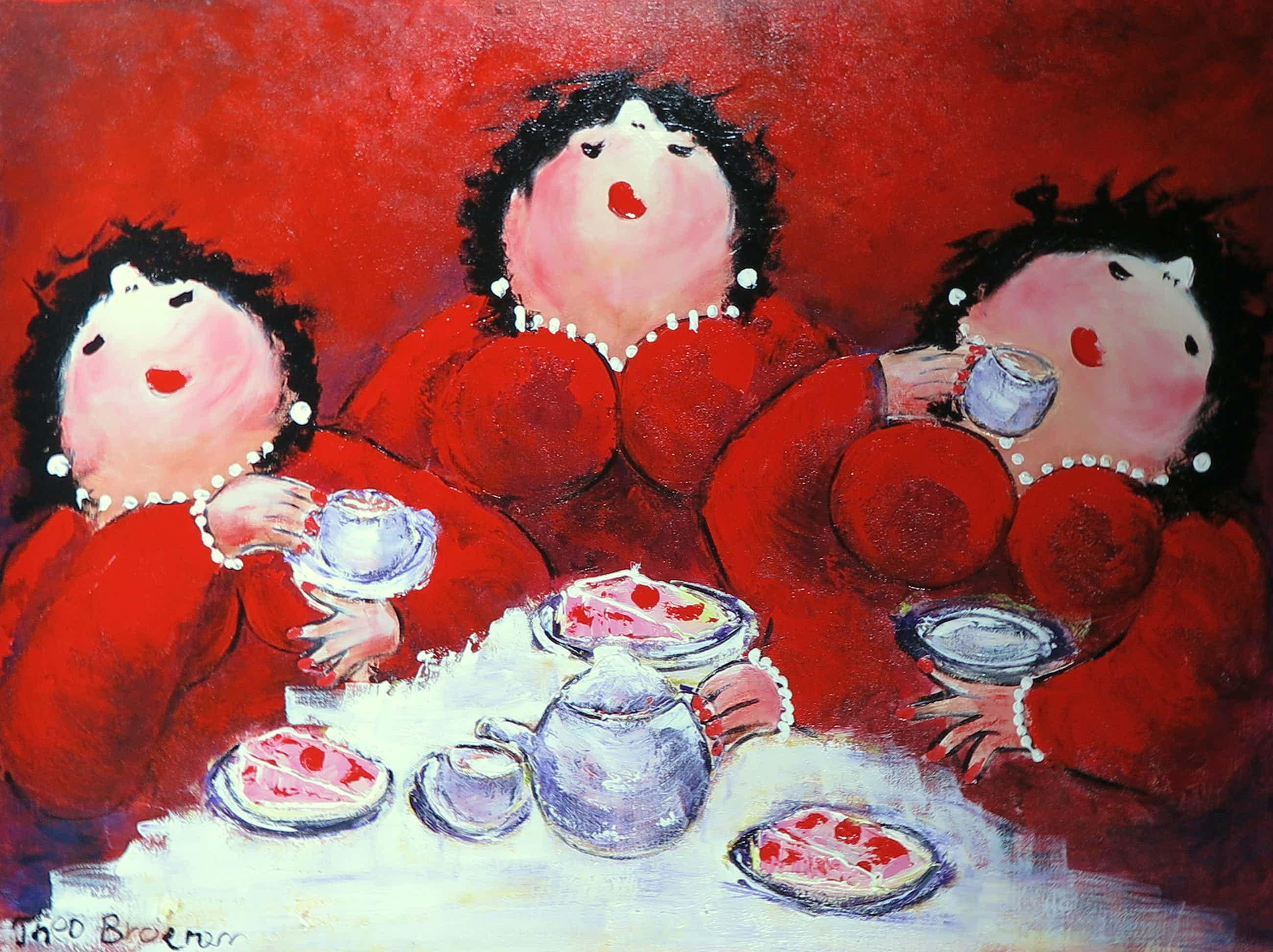 Theo Broeren - Acryl op doek, Tijd voor een kopje thee (Zeer groot) kopen? Bied vanaf 110!