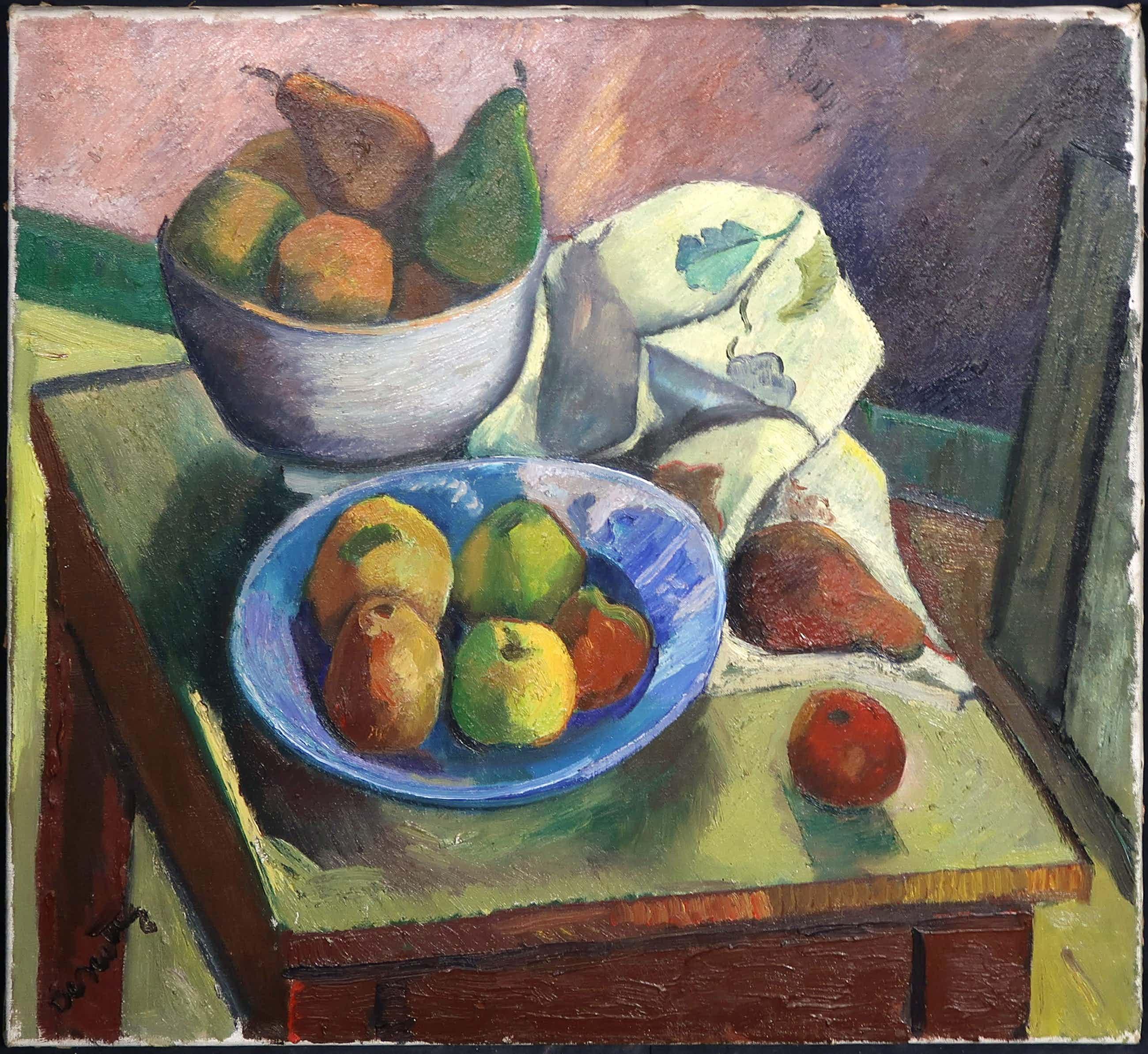 Jeanne Bieruma Oosting - Acryl op doek, Stilleven met fruit op tafel  kopen? Bied vanaf 750!