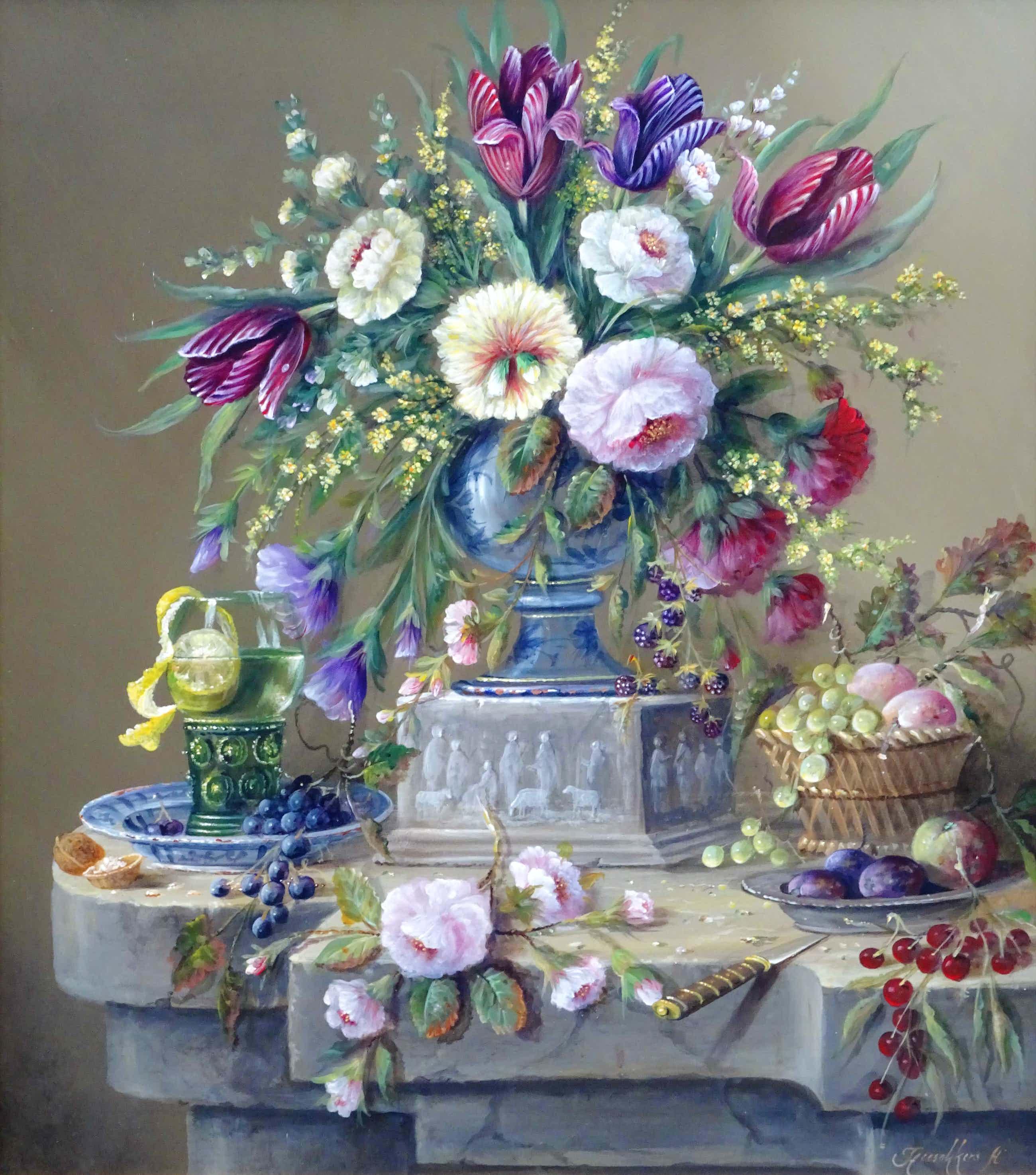 Thomas Heesakkers - Groot pronkstilleven bloemen en fruit op paneel. kopen? Bied vanaf 675!
