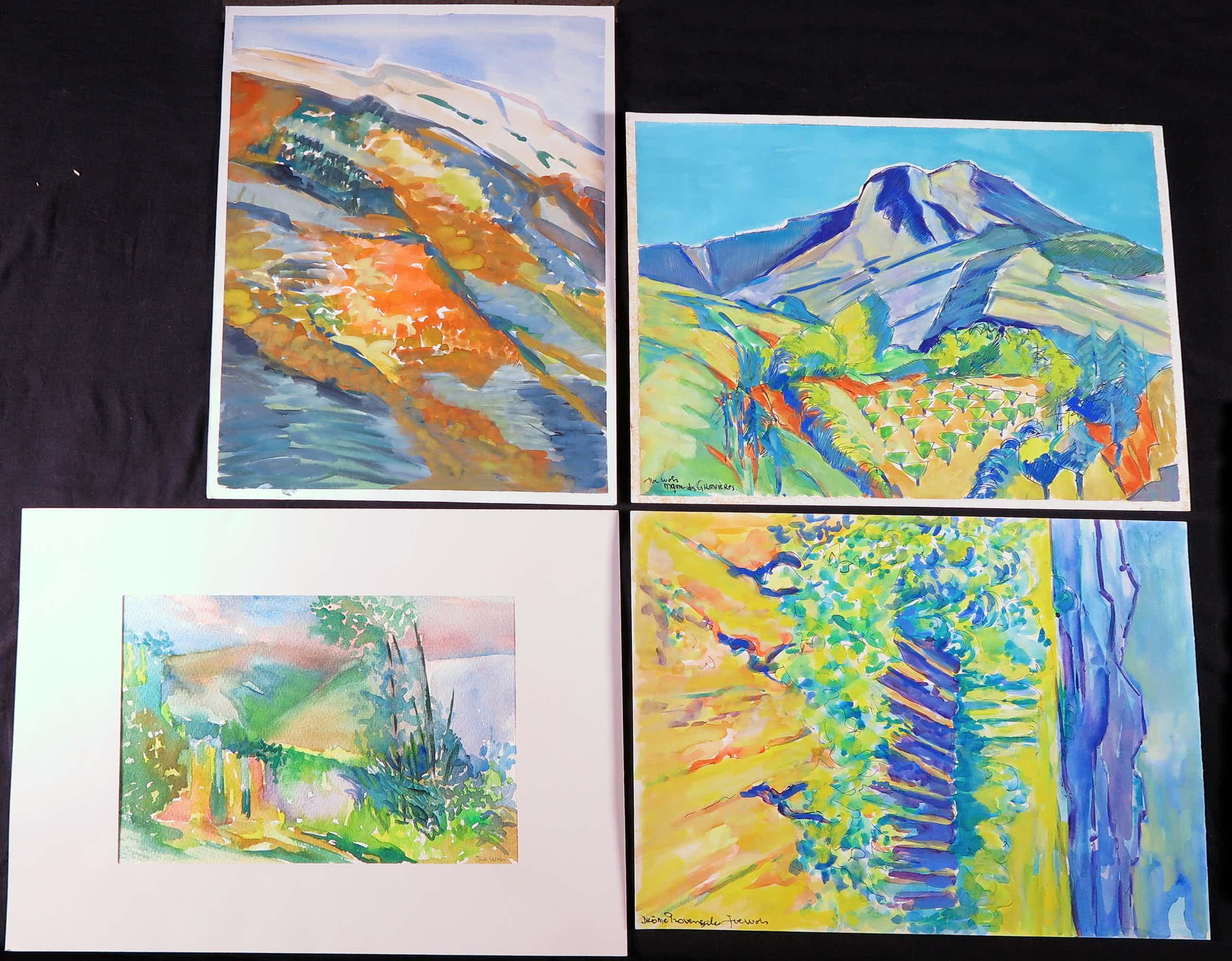 Joe Wols - Lot van vier landschap tekeningen met gouache en acryl verf kopen? Bied vanaf 3!