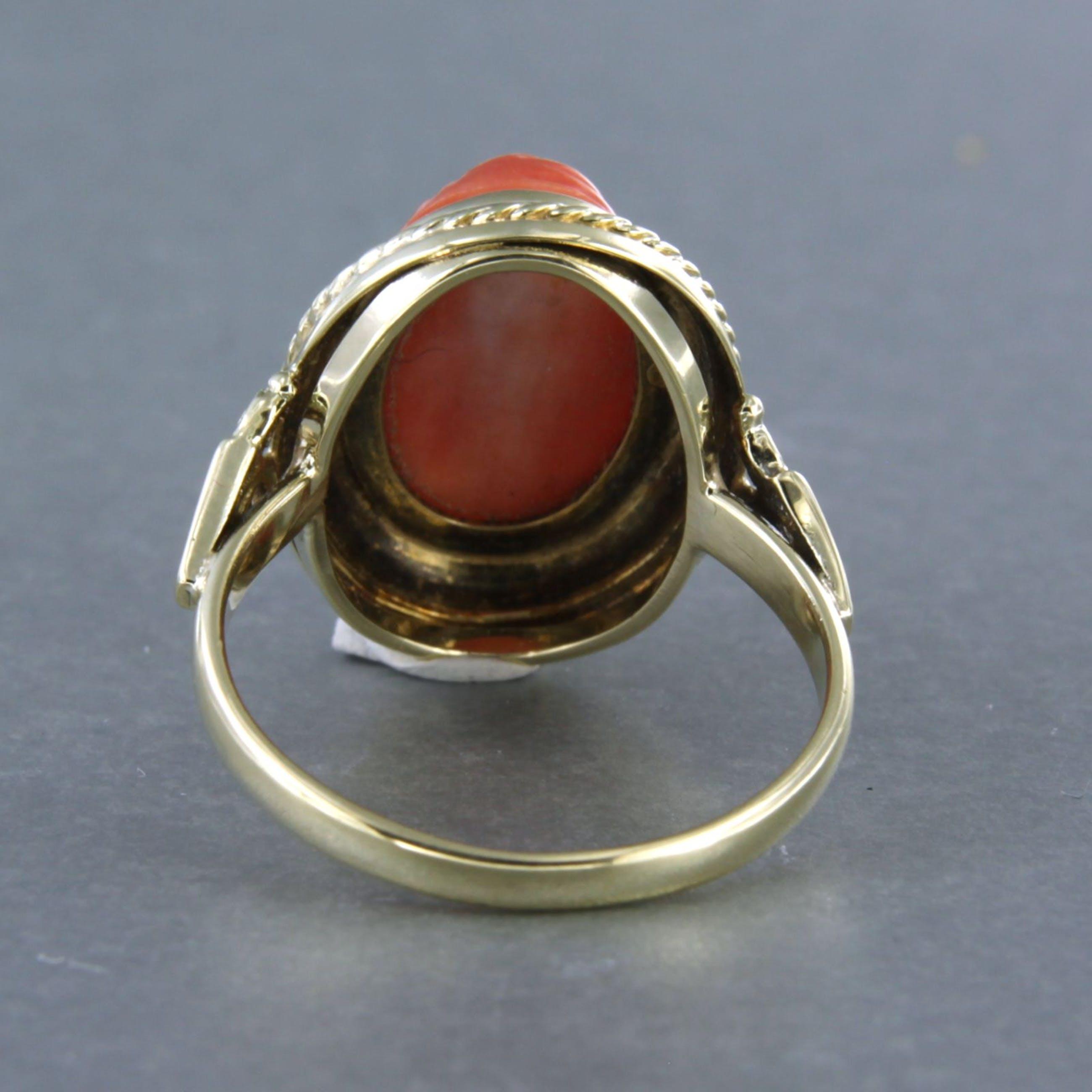 14k geel gouden ring bezet met koraal - ringmaat 17,75(56) kopen? Bied vanaf 190!