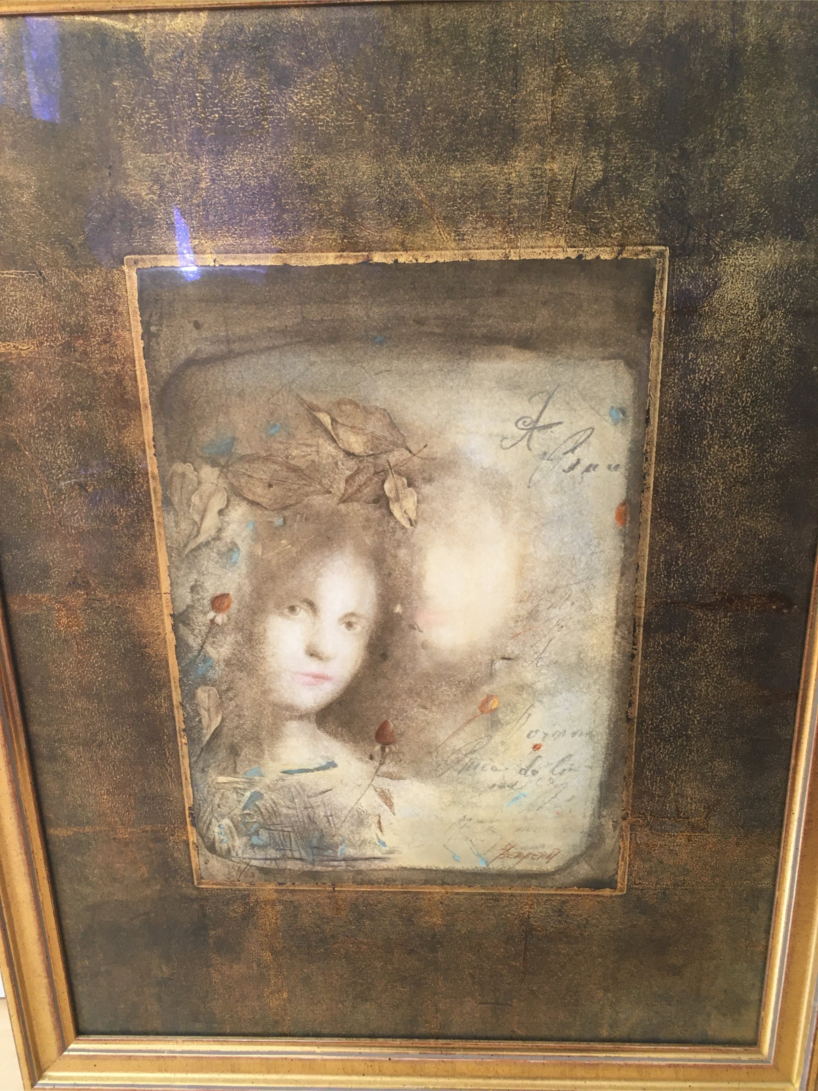 Mersad Berber - Porträt einer jungen Frau mit geschlossenen Rosen, umgeben von Textframenten kopen? Bied vanaf 390!