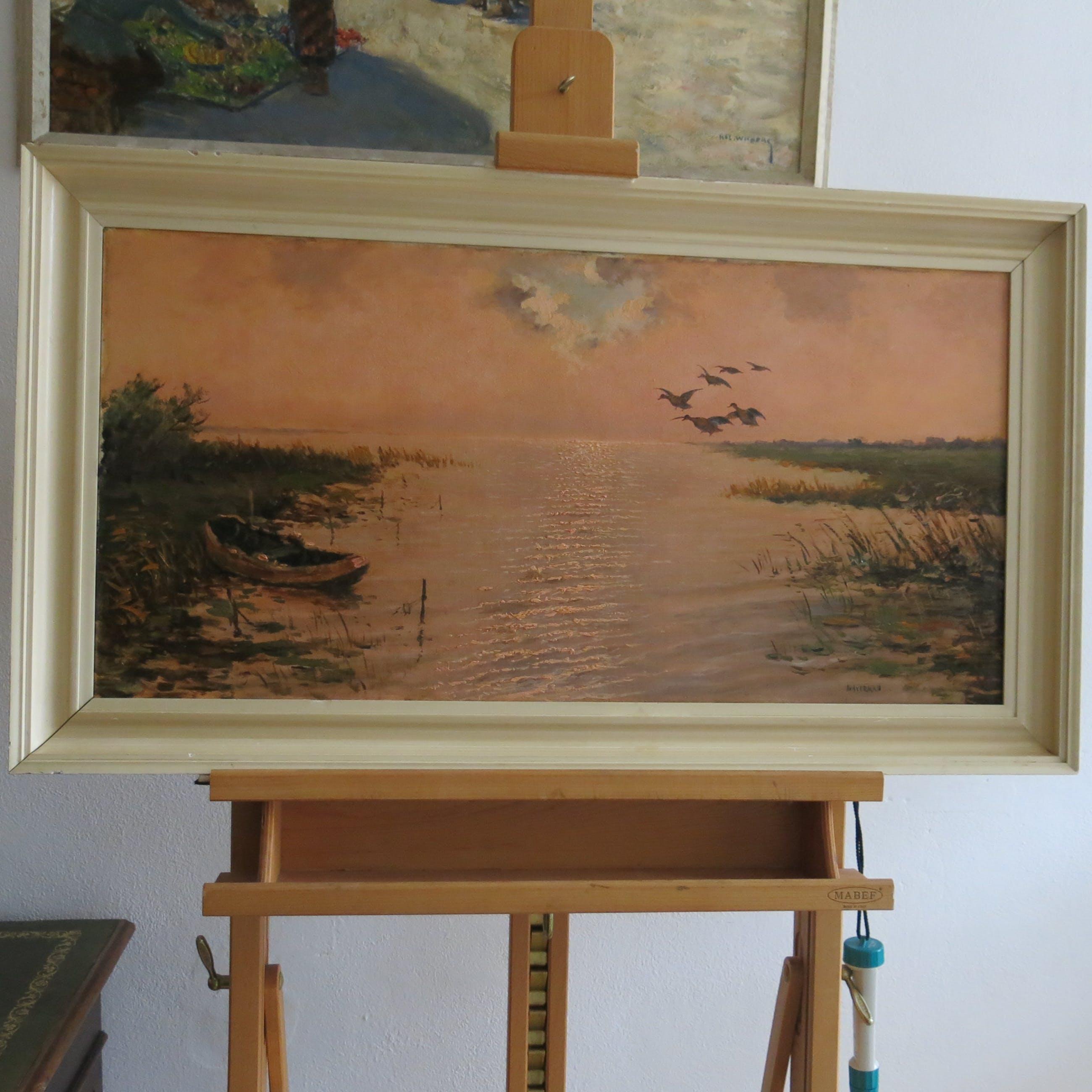 Cornelis Waterman - Water landschap met bootje en opvliegende eenden kopen? Bied vanaf 145!