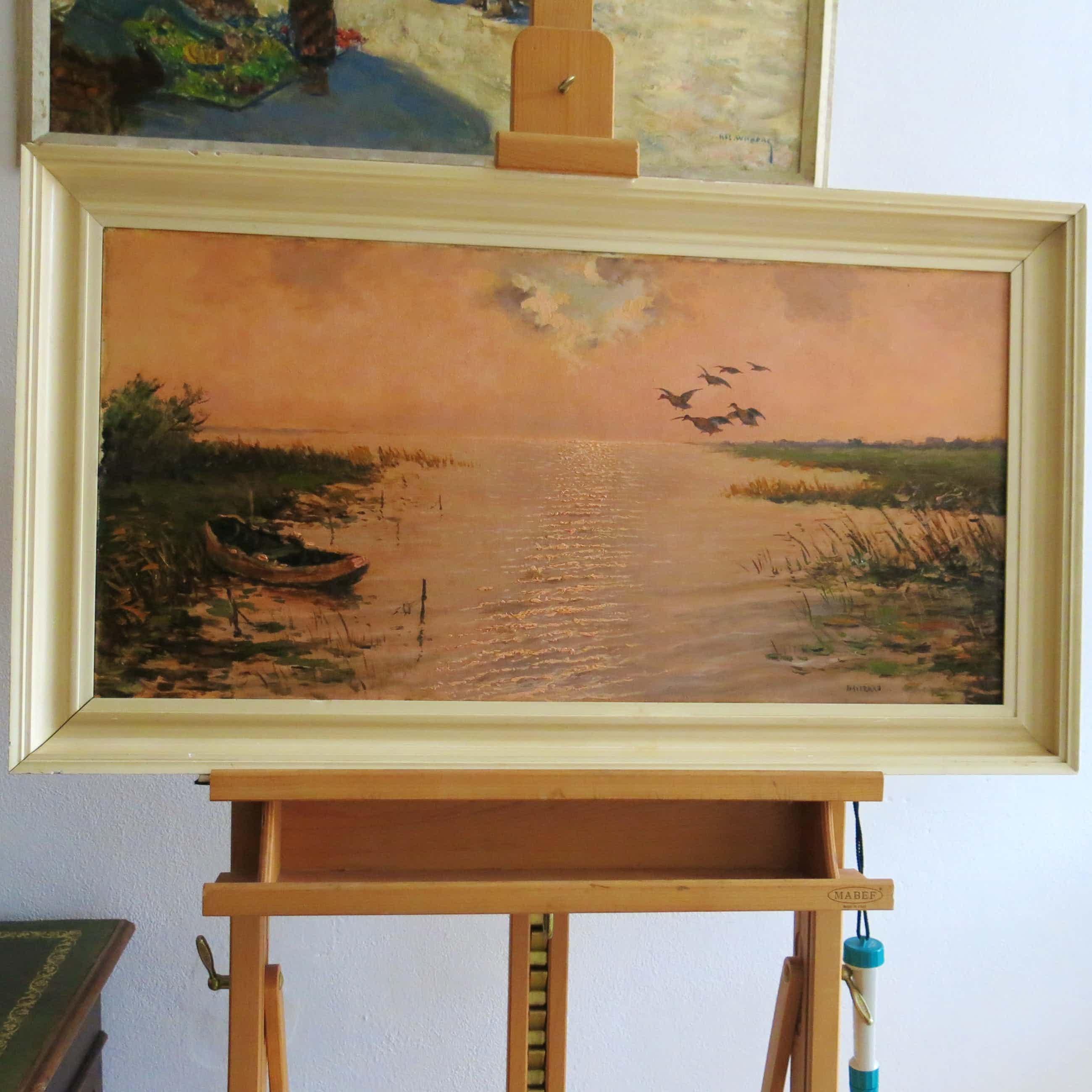 Cornelis Waterman - Water landschap met bootje en opvliegende eenden kopen? Bied vanaf 120!