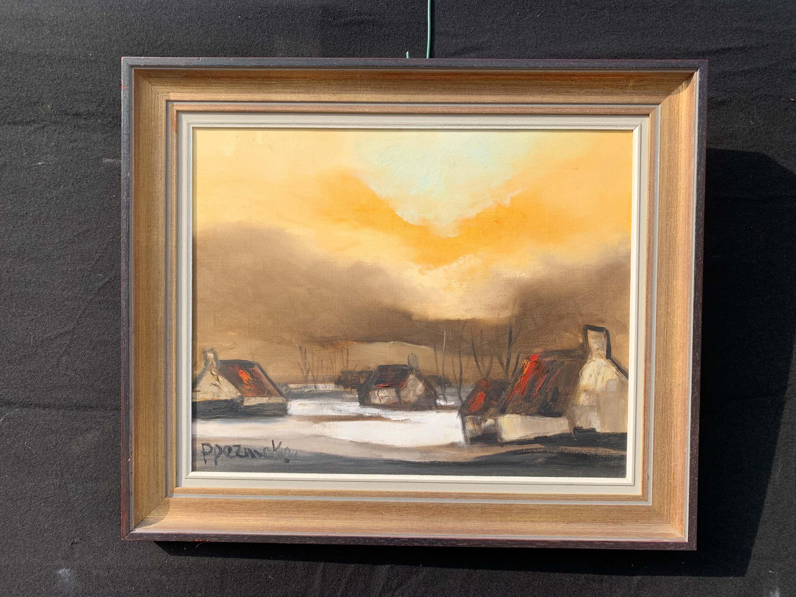 Paul Permeke - Olieverf schilderij: huizen in het landschap. kopen? Bied vanaf 625!