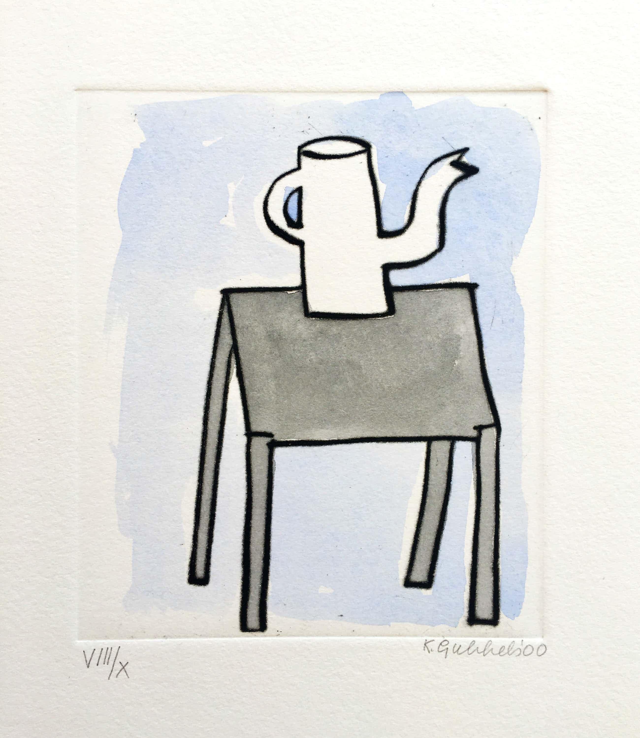 Klaas Gubbels - ets met aquarel ingekleurd - 'Kan op tafel' kopen? Bied vanaf 349!
