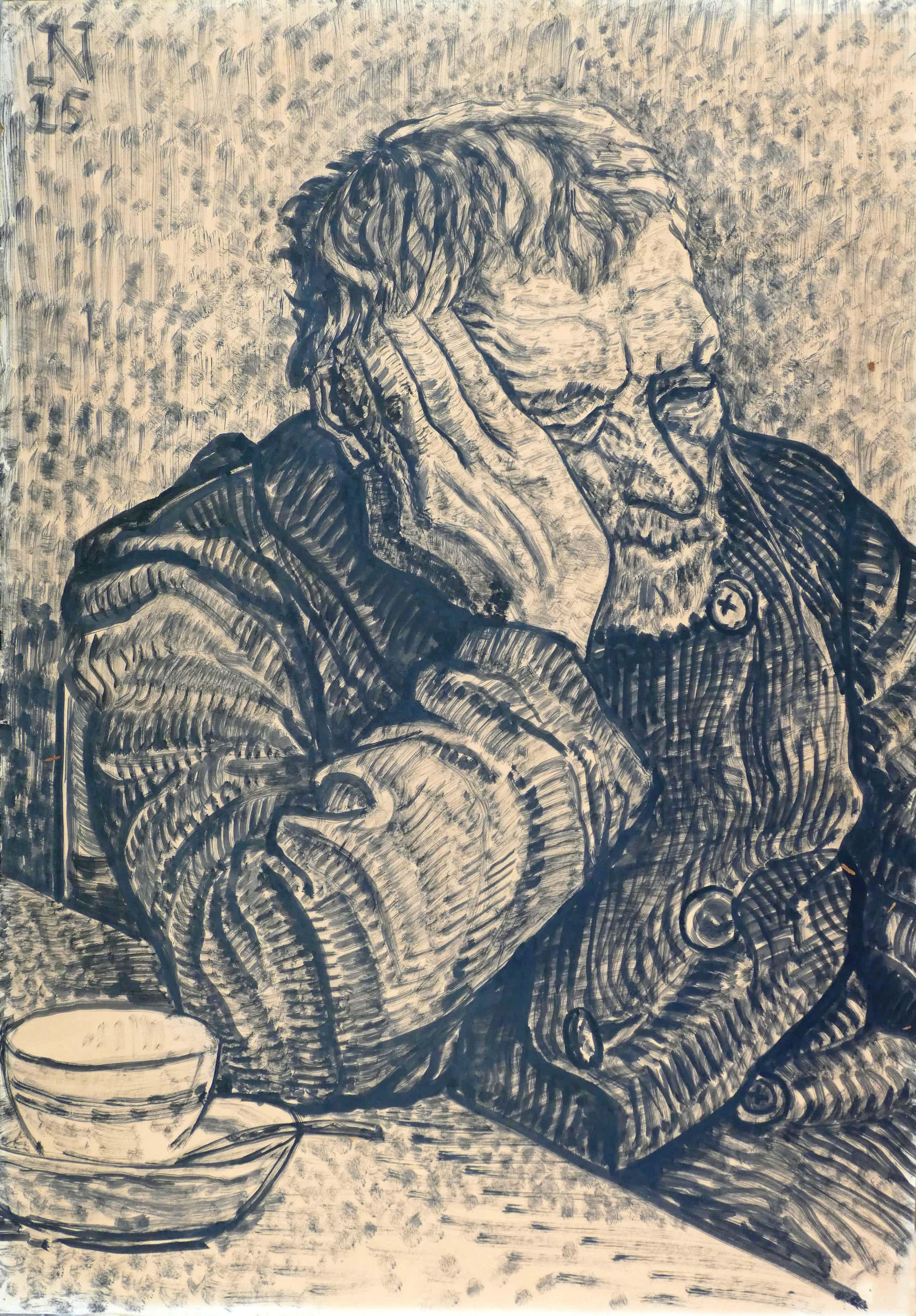 Jakob Nieweg - Slapende man aan tafel kopen? Bied vanaf 80!
