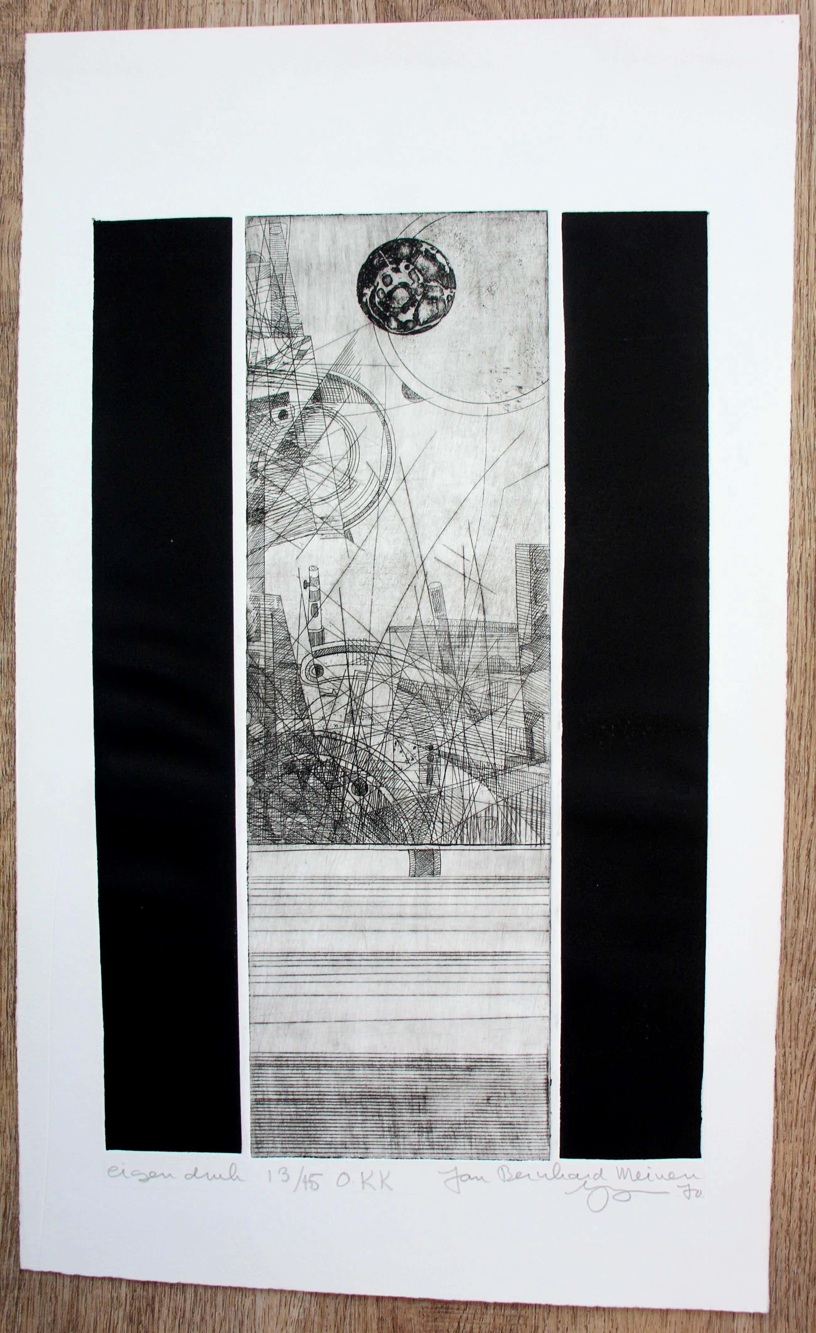 Jan Bernard Meinen - Ets - Abstracte compositie met geometrische vormen: O.K.K kopen? Bied vanaf 49!