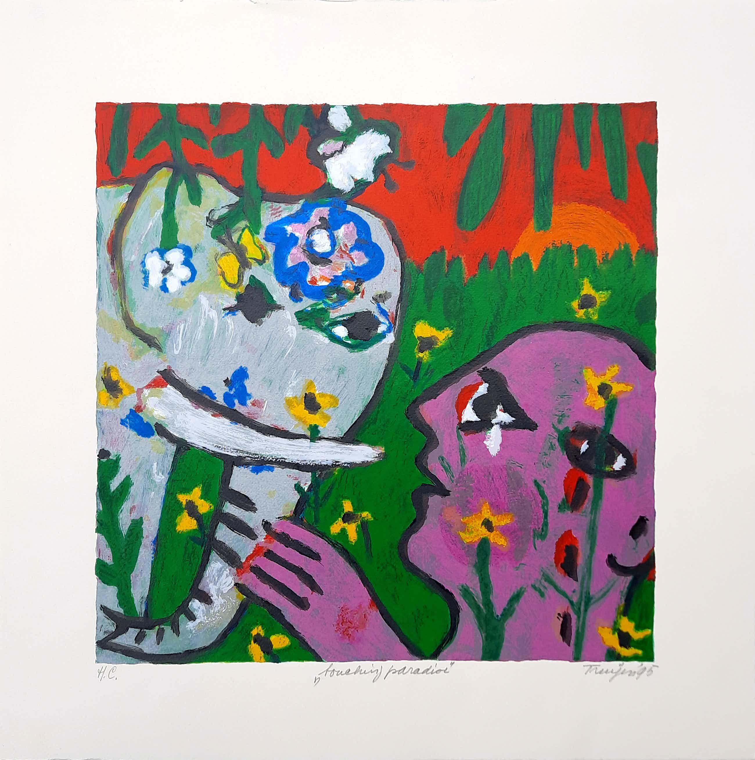Hans Truijen - kleurenzeefdruk | 'Touching Paradise' H.C. | 1995 | 21490 kopen? Bied vanaf 85!