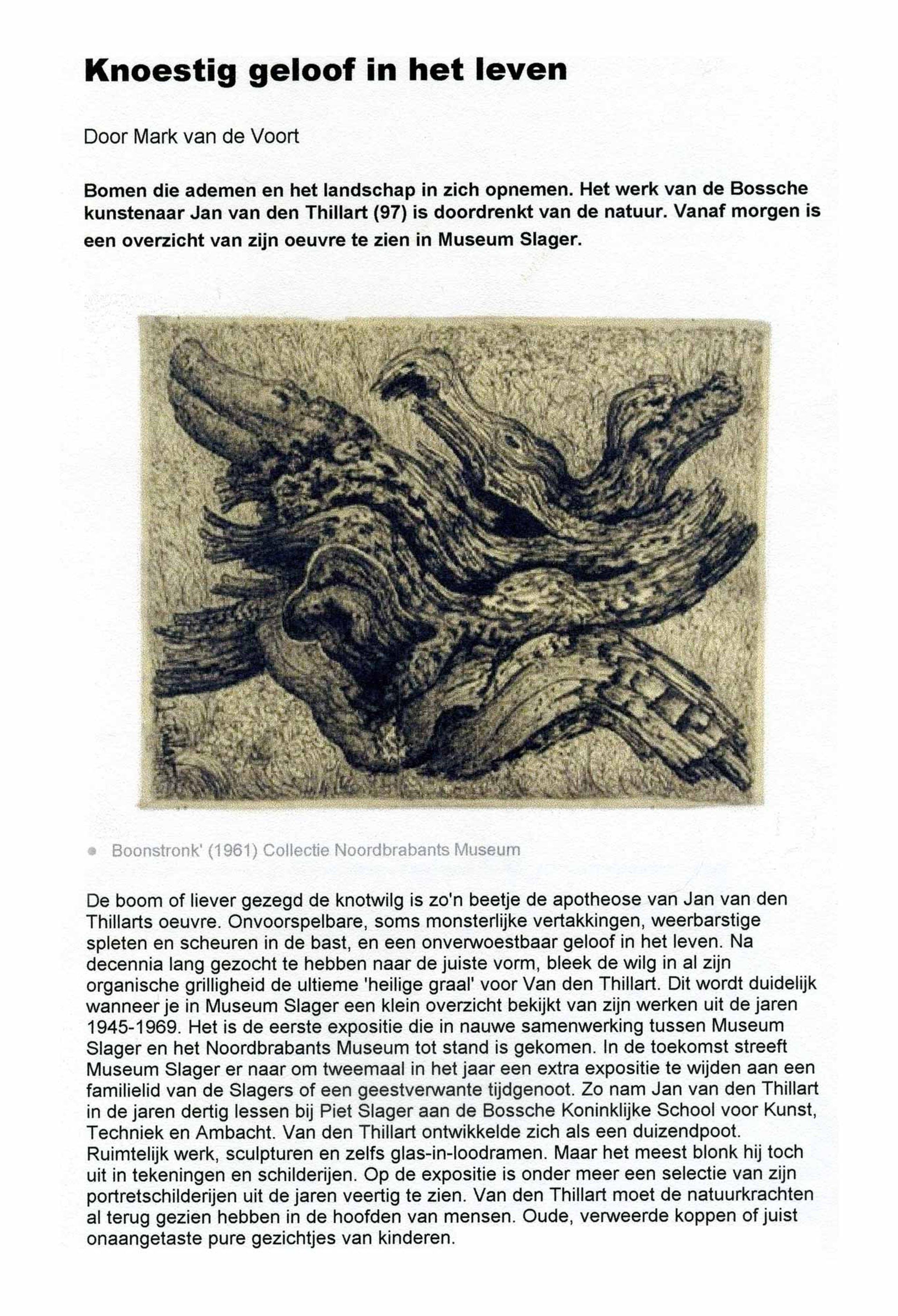 Jan van den Thillart - Stronk - Krijt tekening icm acrylverf kopen? Bied vanaf 375!