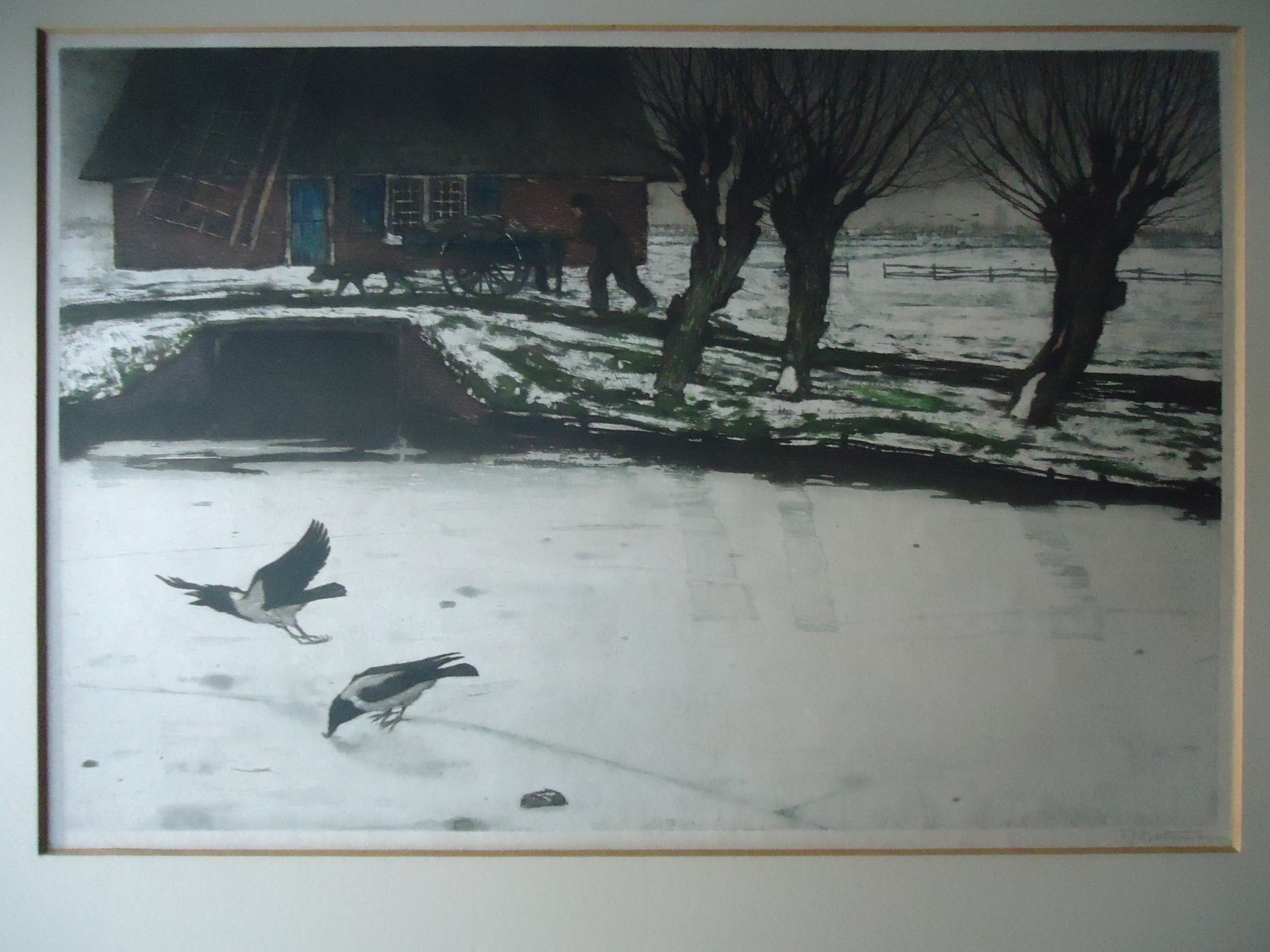 Tjeerd Bottema - bonte kraaien op het ijs- molen met hondenkar en knotwilgen kopen? Bied vanaf 40!