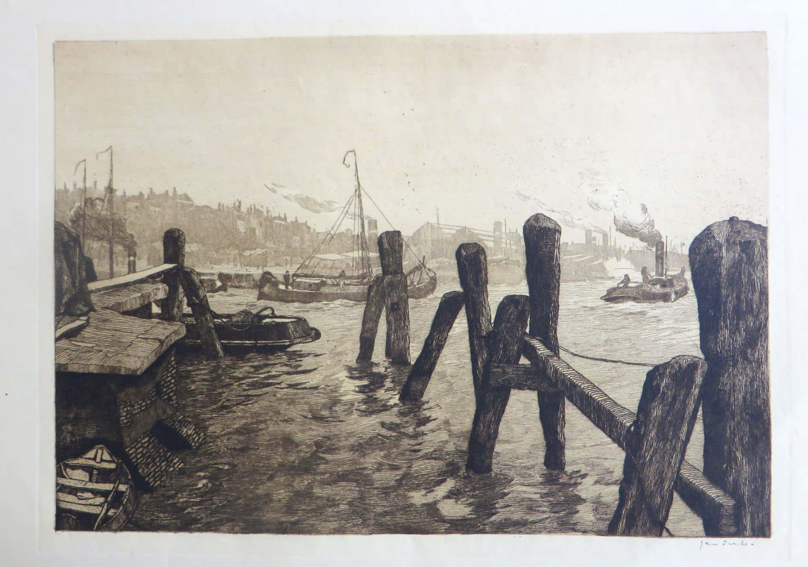 Jan Sirks - Havengezicht van Rotterdam met bedrijvigheid op het water. kopen? Bied vanaf 52!