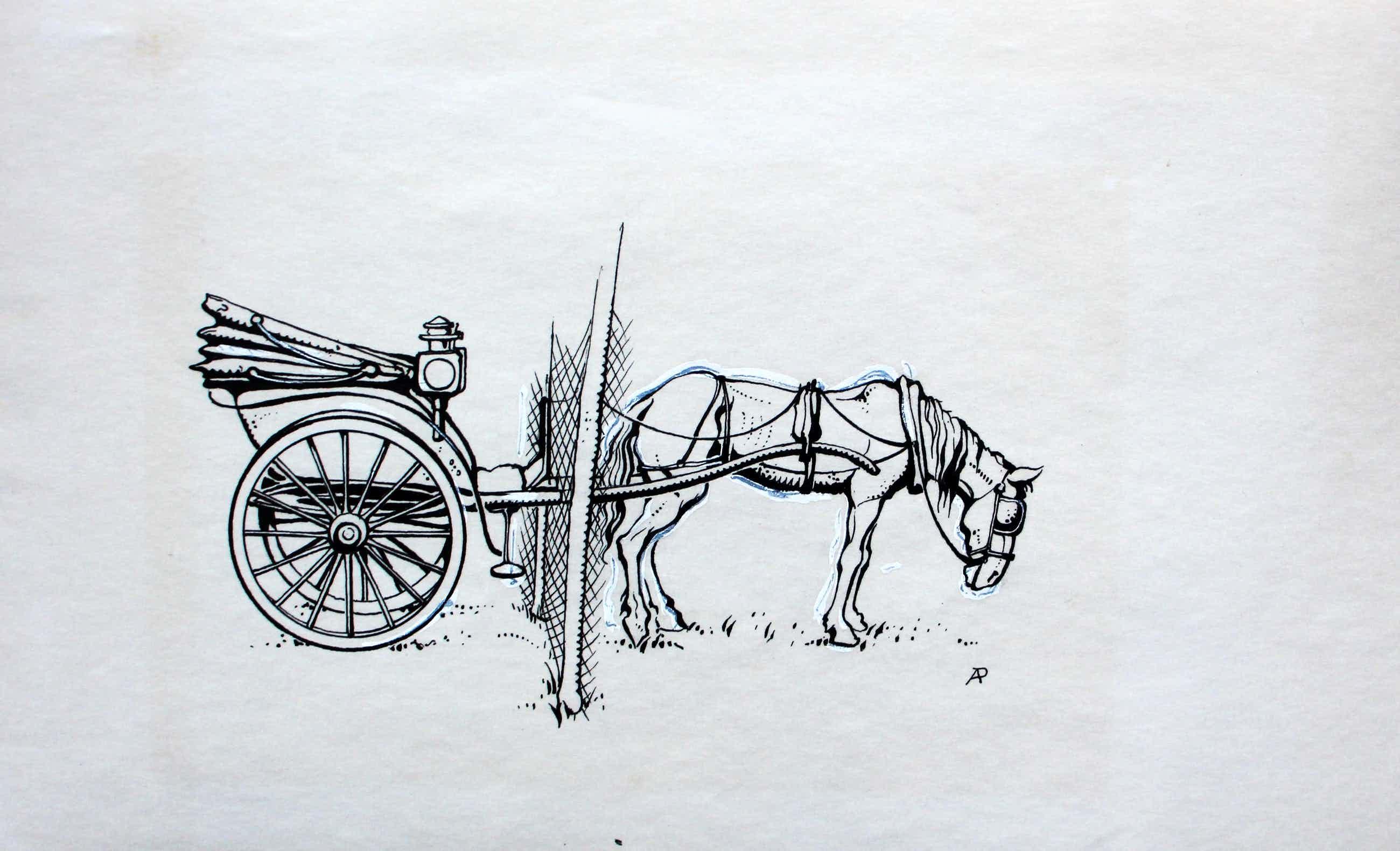 Anton Pieck - inkttekening : paard met wagen kopen? Bied vanaf 275!