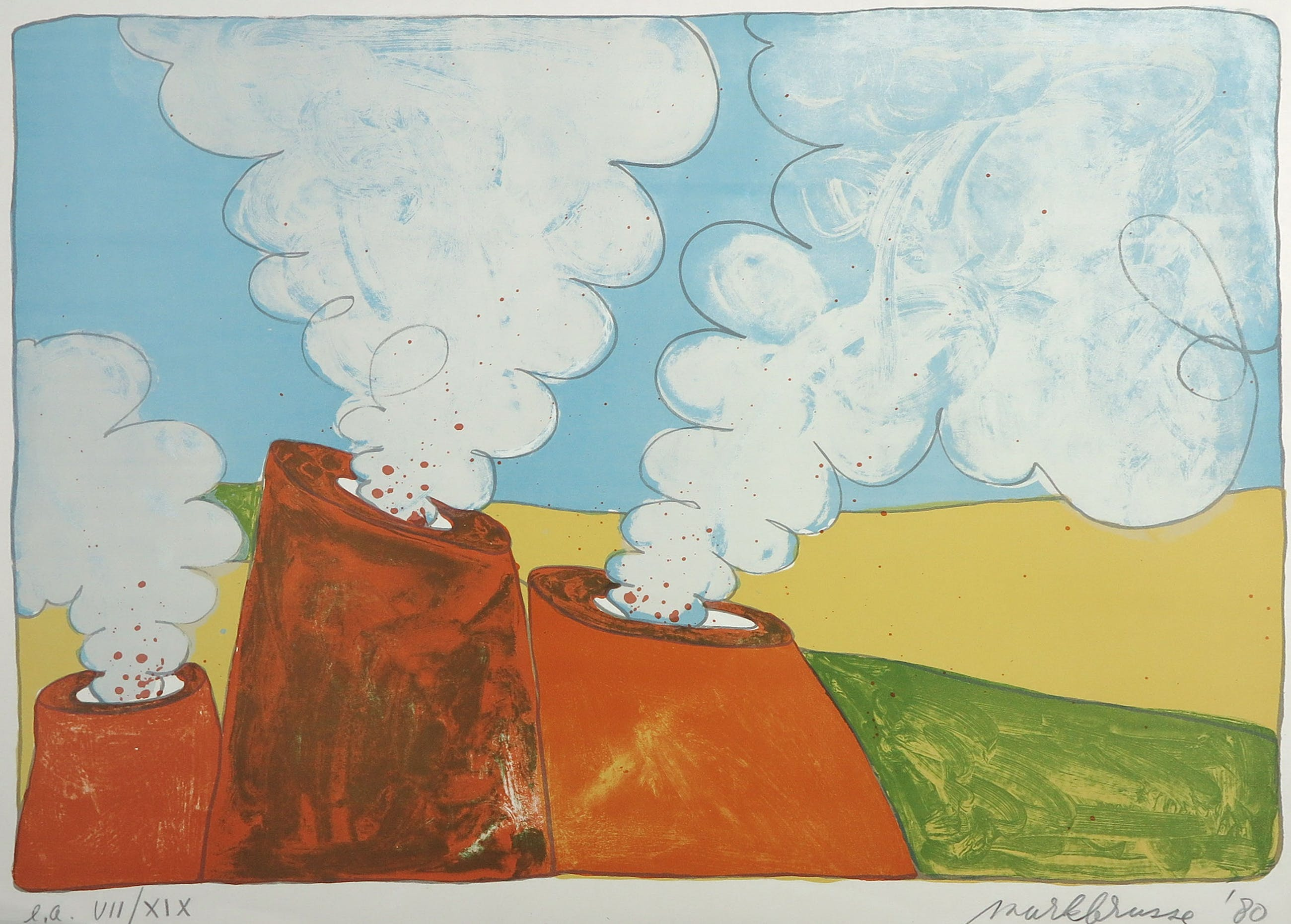 Mark Brusse - Litho, Vulkanen kopen? Bied vanaf 20!