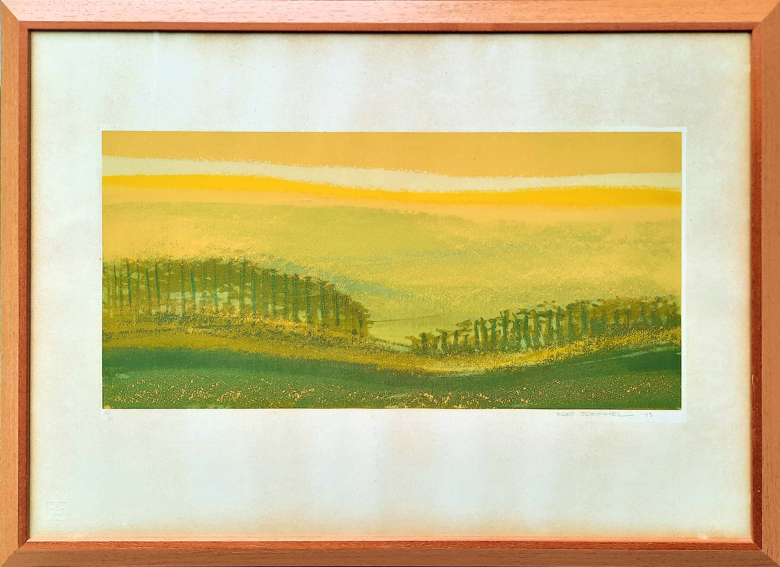 Fred Schimmel - steendruk - Landschap 18/65 - INGELIJST - 21889 kopen? Bied vanaf 50!