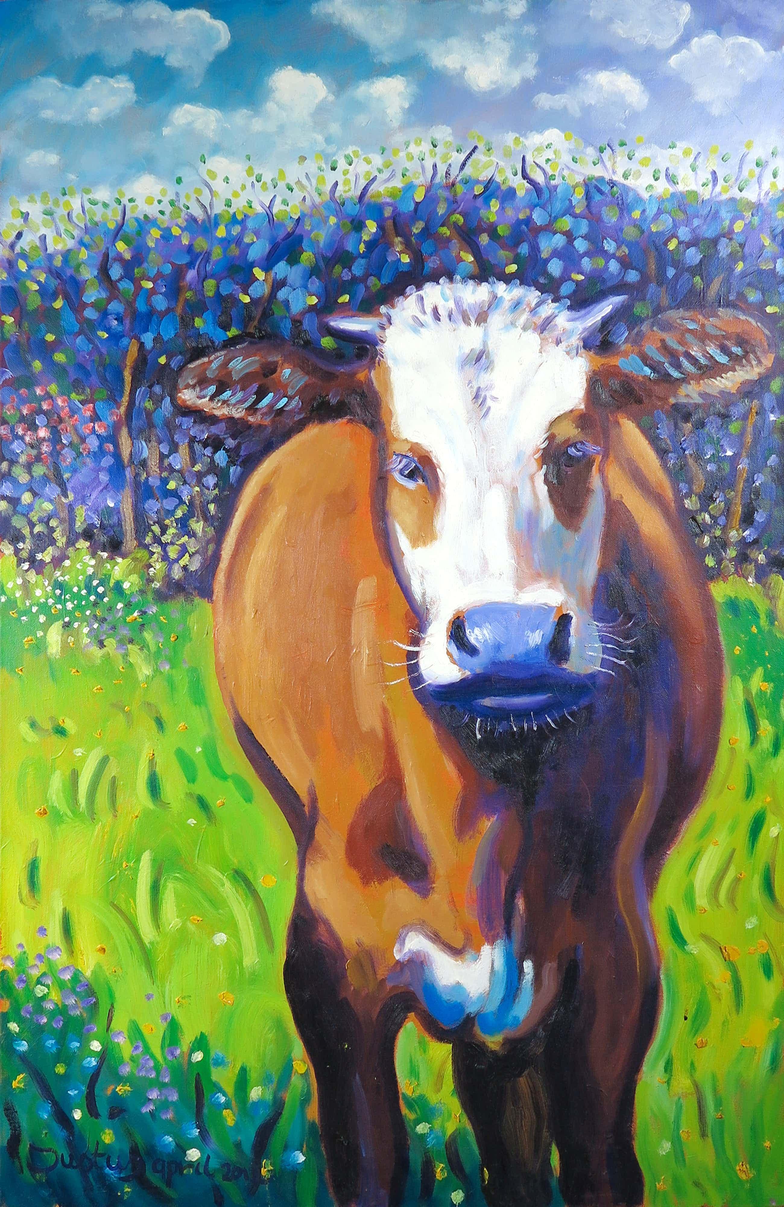 Justus Donker - Acryl op doek, Bruine koe (Groot) kopen? Bied vanaf 83!