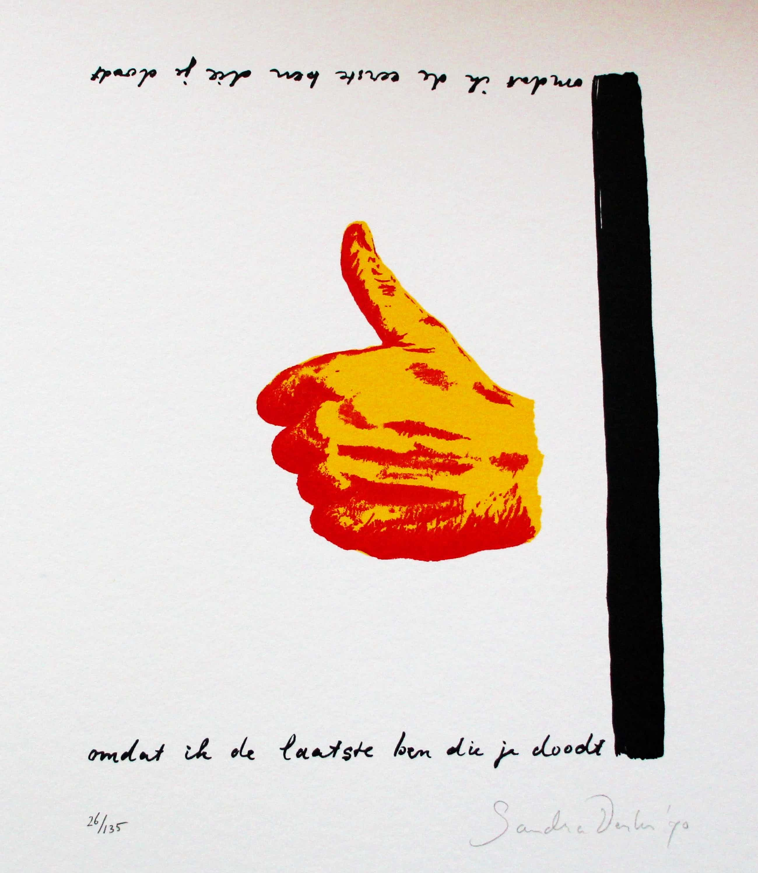 Sandra Derks - Zeefdruk met gedicht, van Rob Schouten - 1990 kopen? Bied vanaf 55!