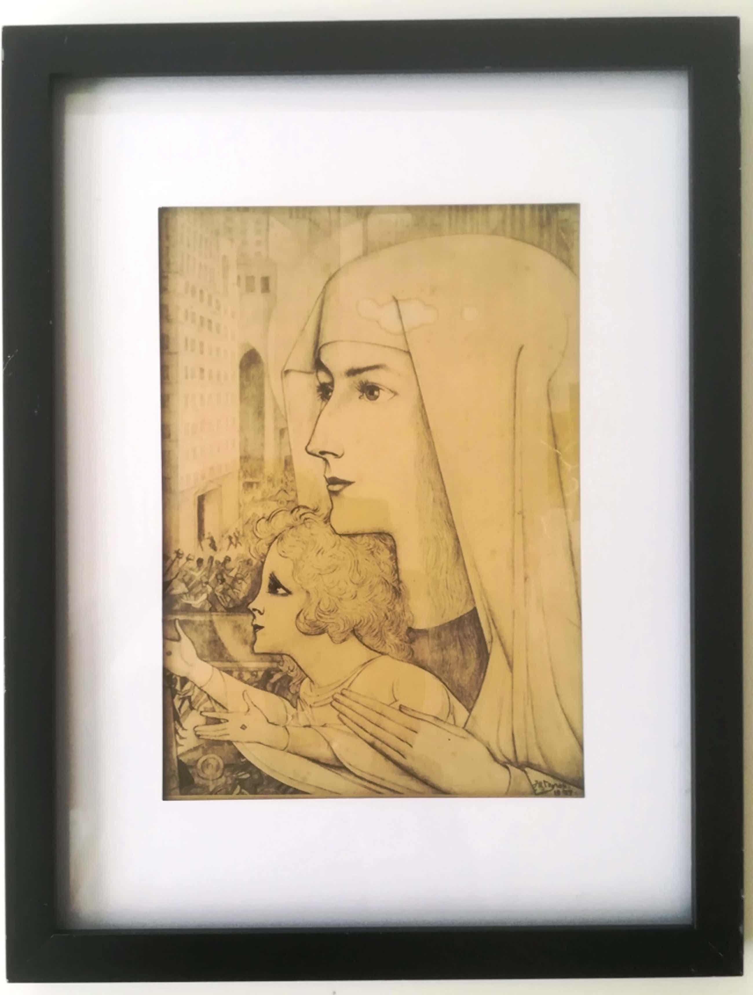 Jan Toorop - (1858–1928)   Maria Magdalena met Kind 1927 kopen? Bied vanaf 60!