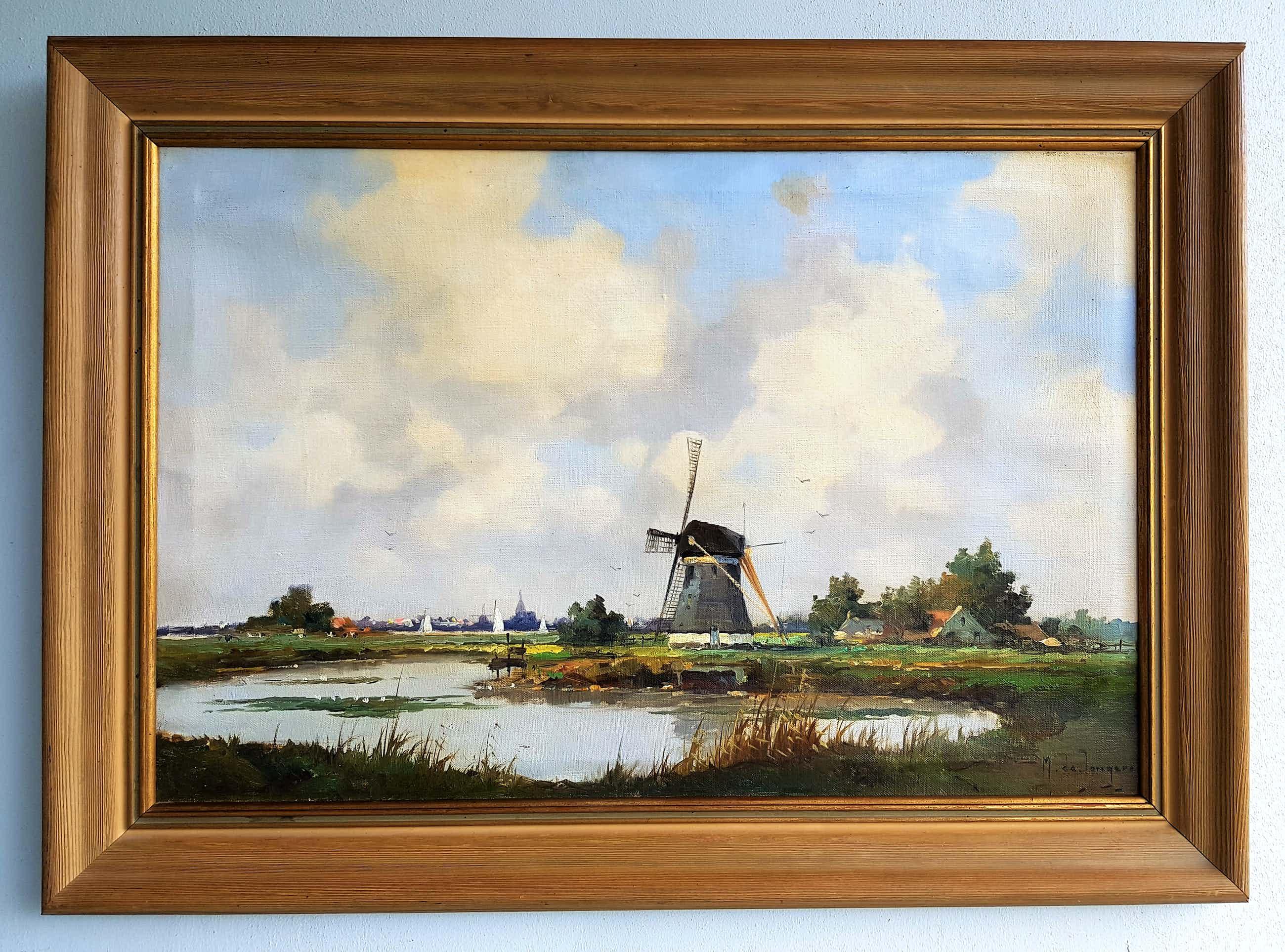 Marius de Jongere - Hollands polderlandschap met molen kopen? Bied vanaf 900!